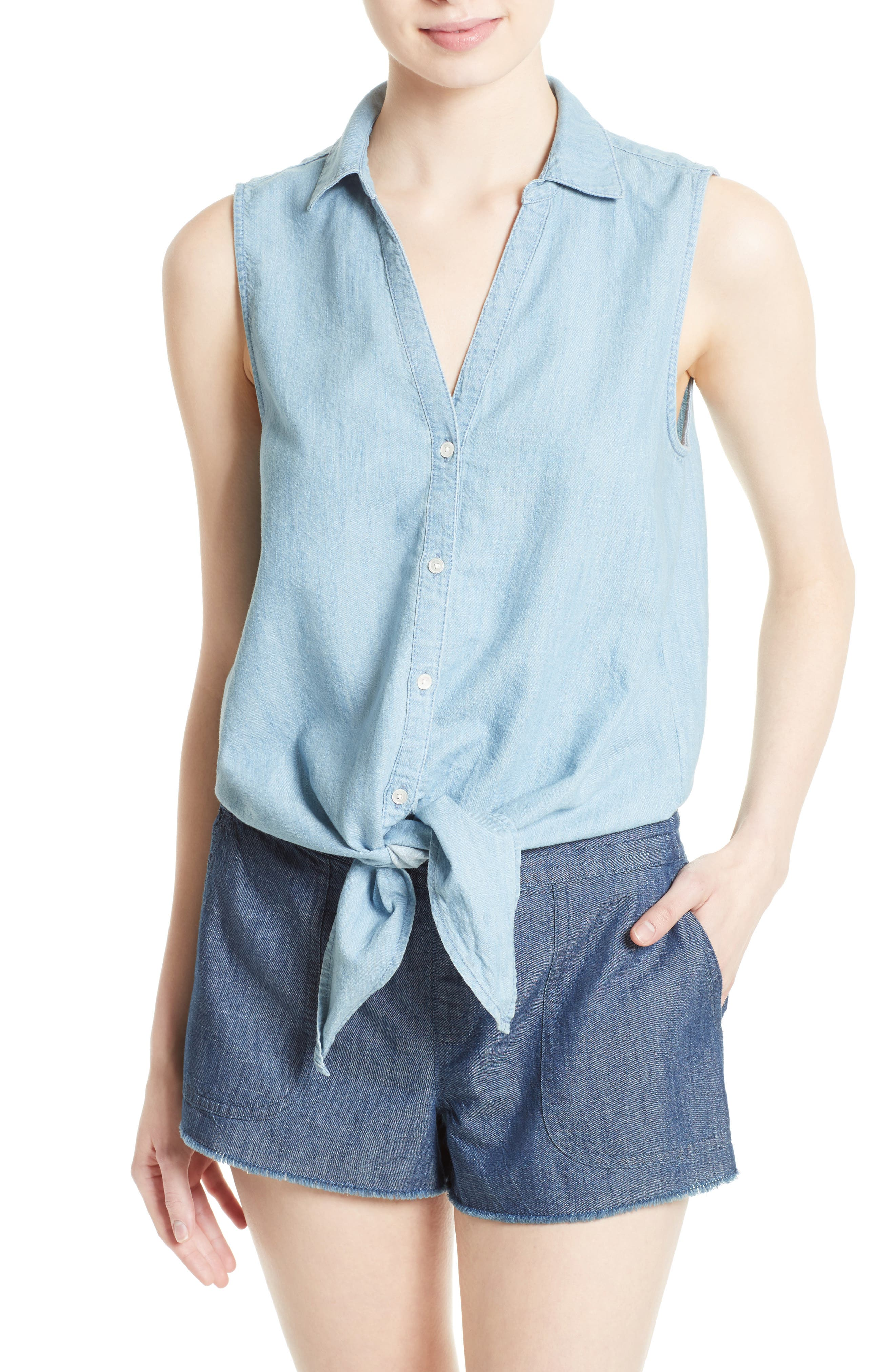 Soft Joie Creta Chambray Tie Waist Top