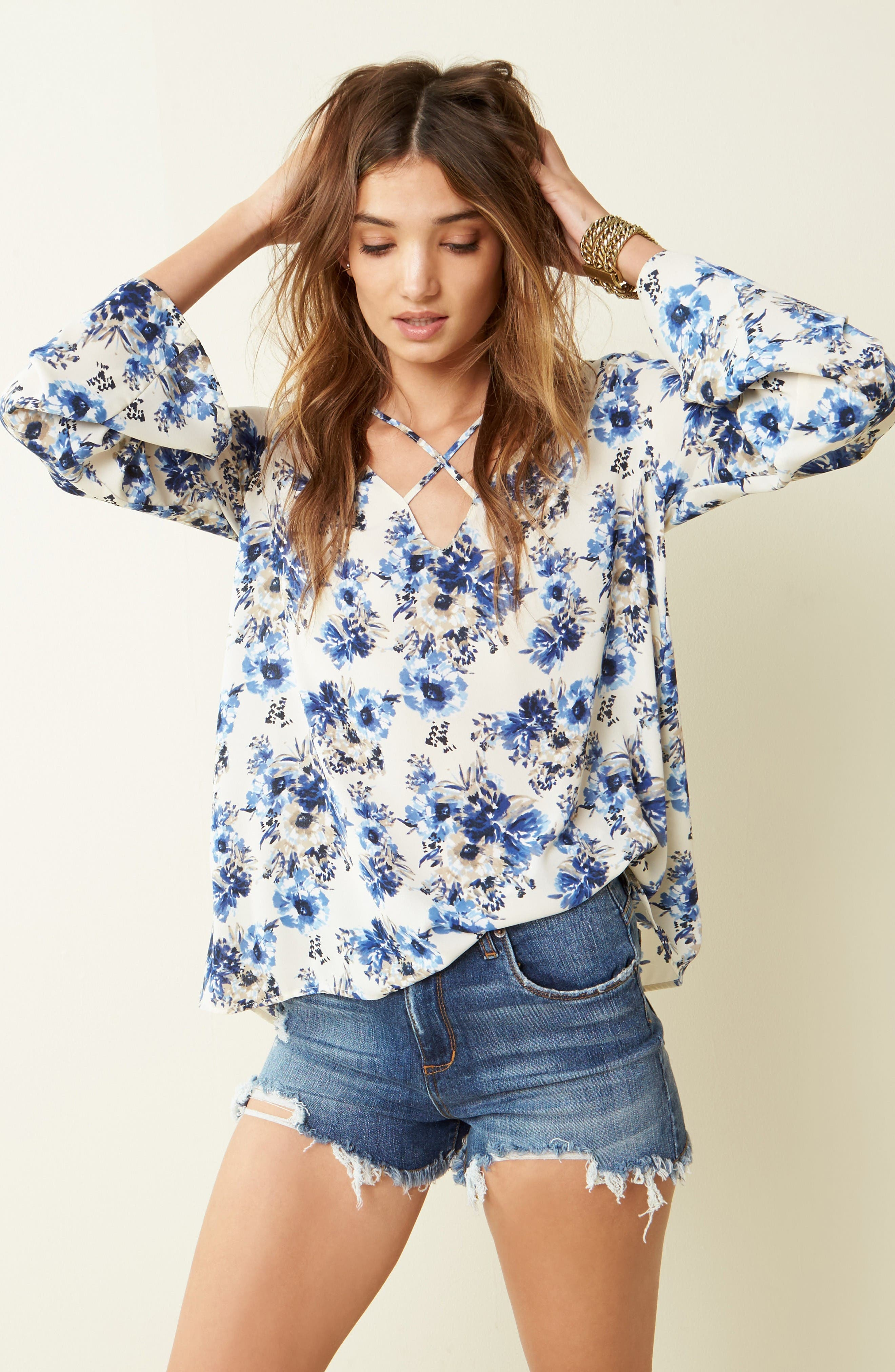 Lush Blouse & STS Blue Shorts Outfit with Accessories