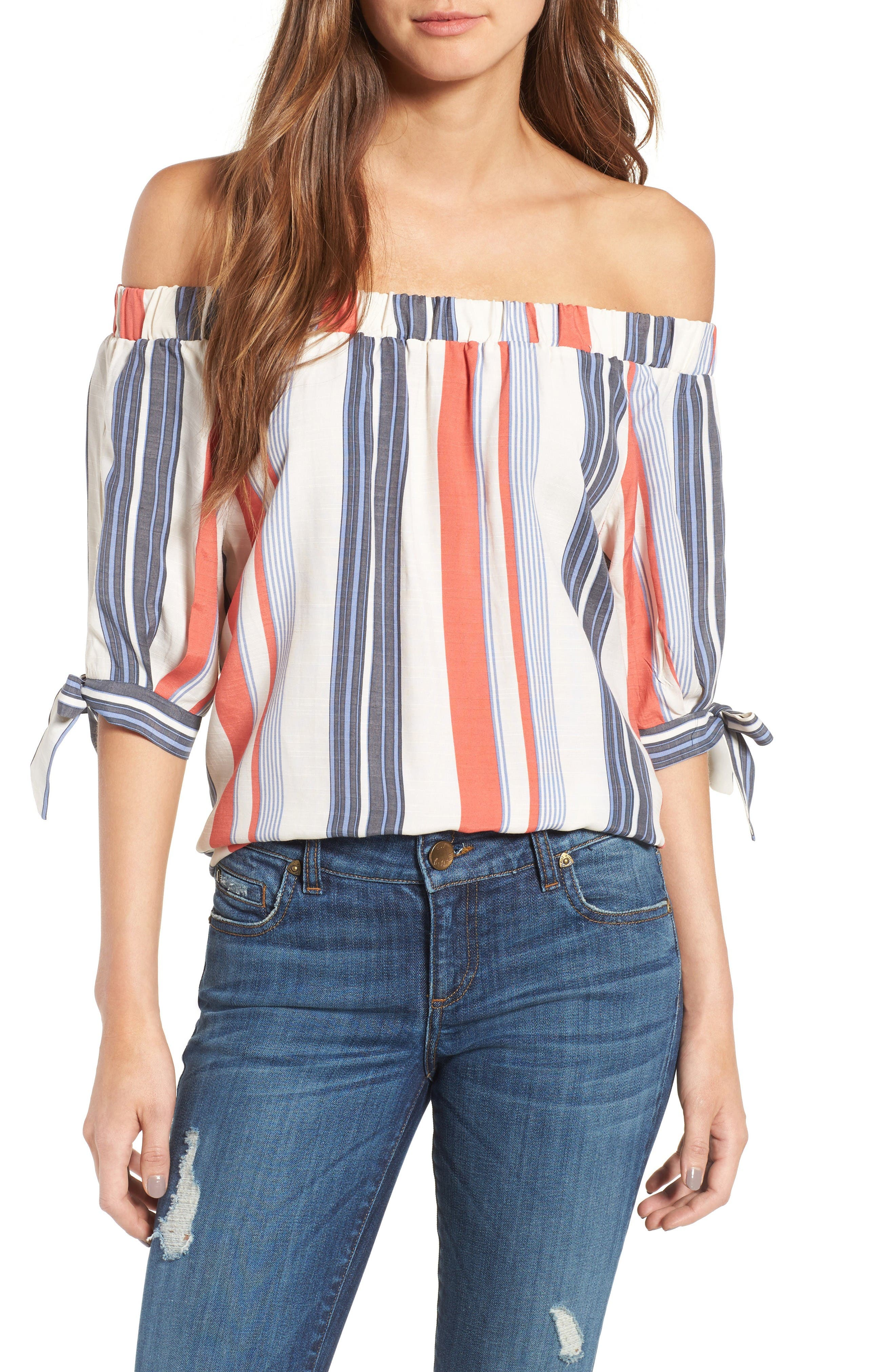 Alternate Image 1 Selected - THML Off the Shoulder Stripe Top