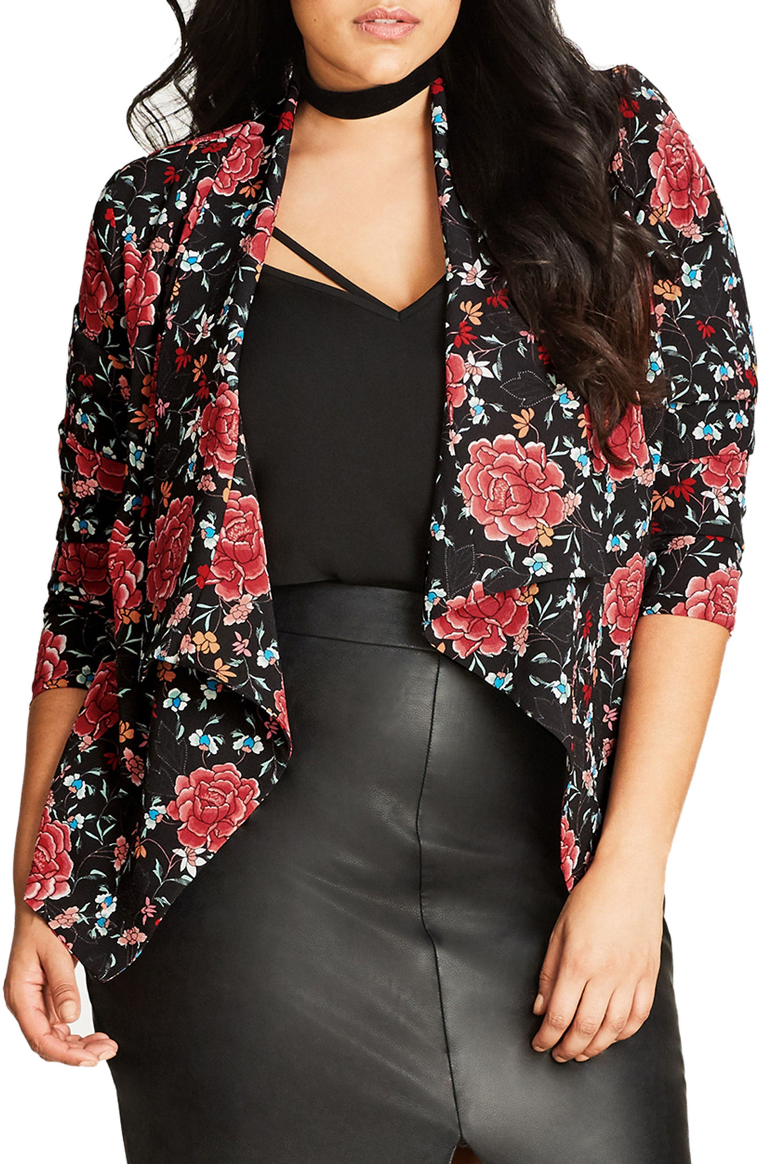City Chic Floral Tapestry Jacket (Plus Size)