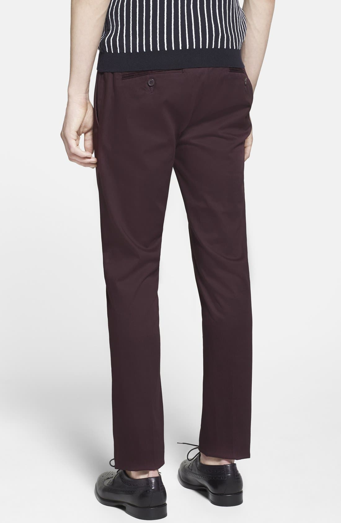 Alternate Image 2  - Topman Ultra Skinny Fit Cotton Blend Trousers (Brit Pop-In)