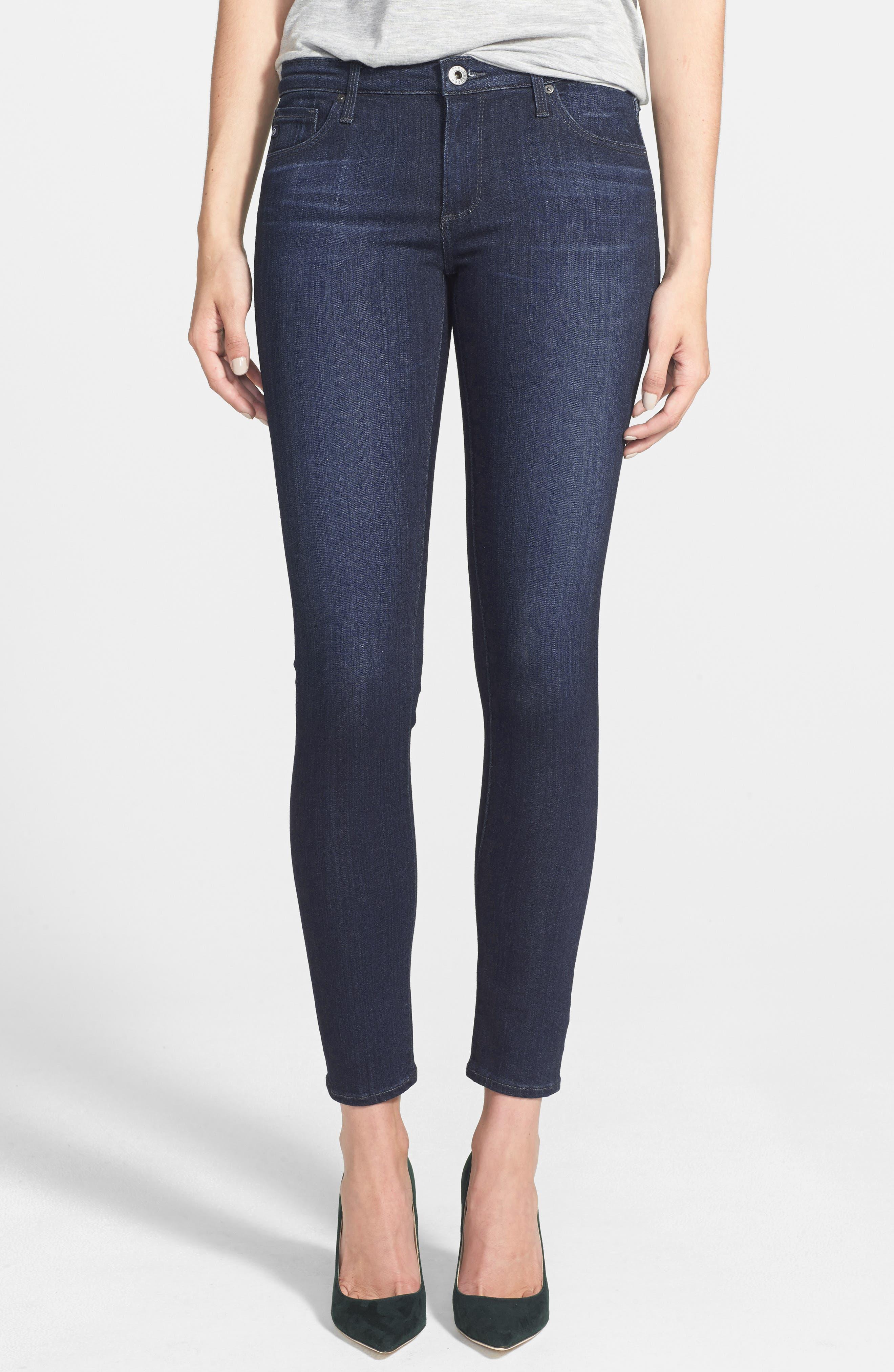Alternate Image 1 Selected - AG Ankle Super Skinny Jeans (Coal Blue)