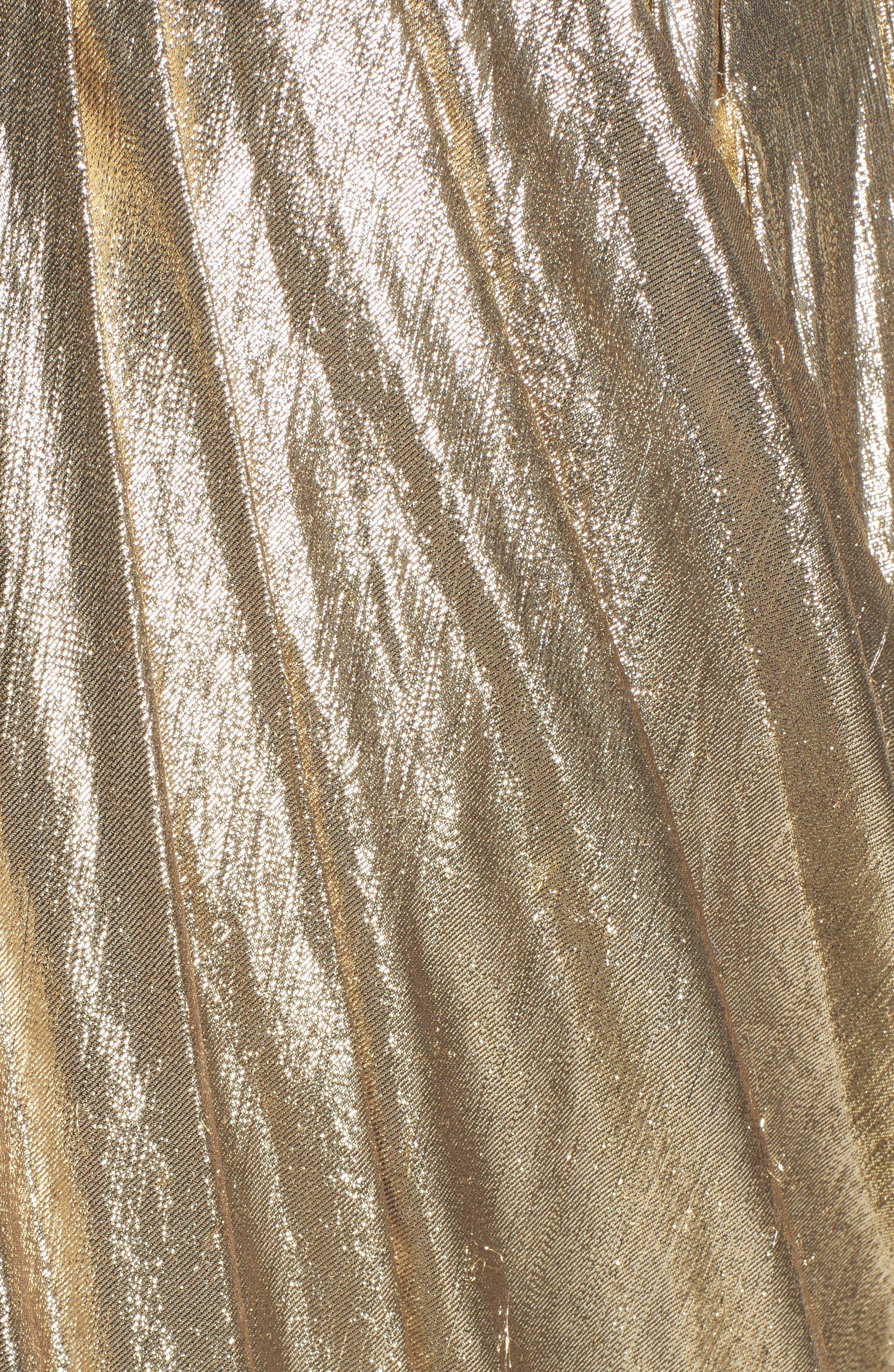 Alternate Image 3  - Marchesa Metallic Lace & Lamé One-Shoulder Gown