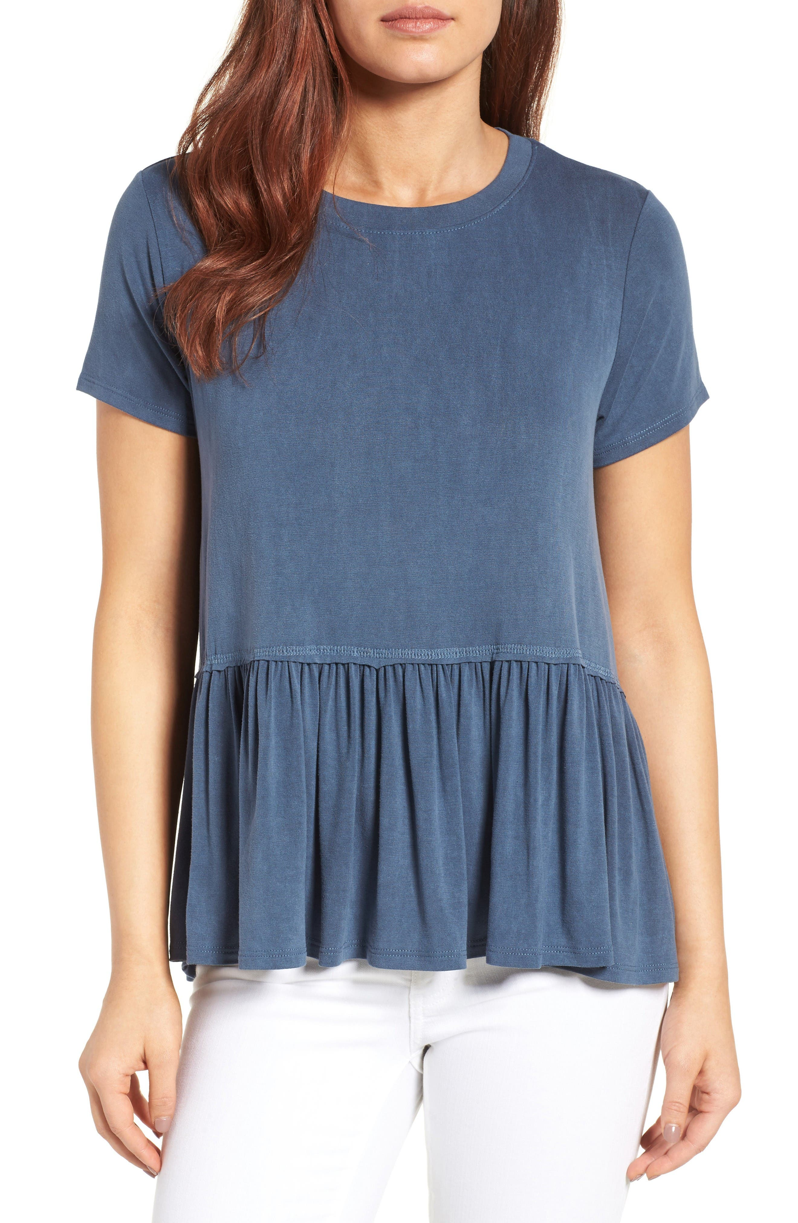 Bobeau Short Sleeve Peplum Tee (Regular & Petite)