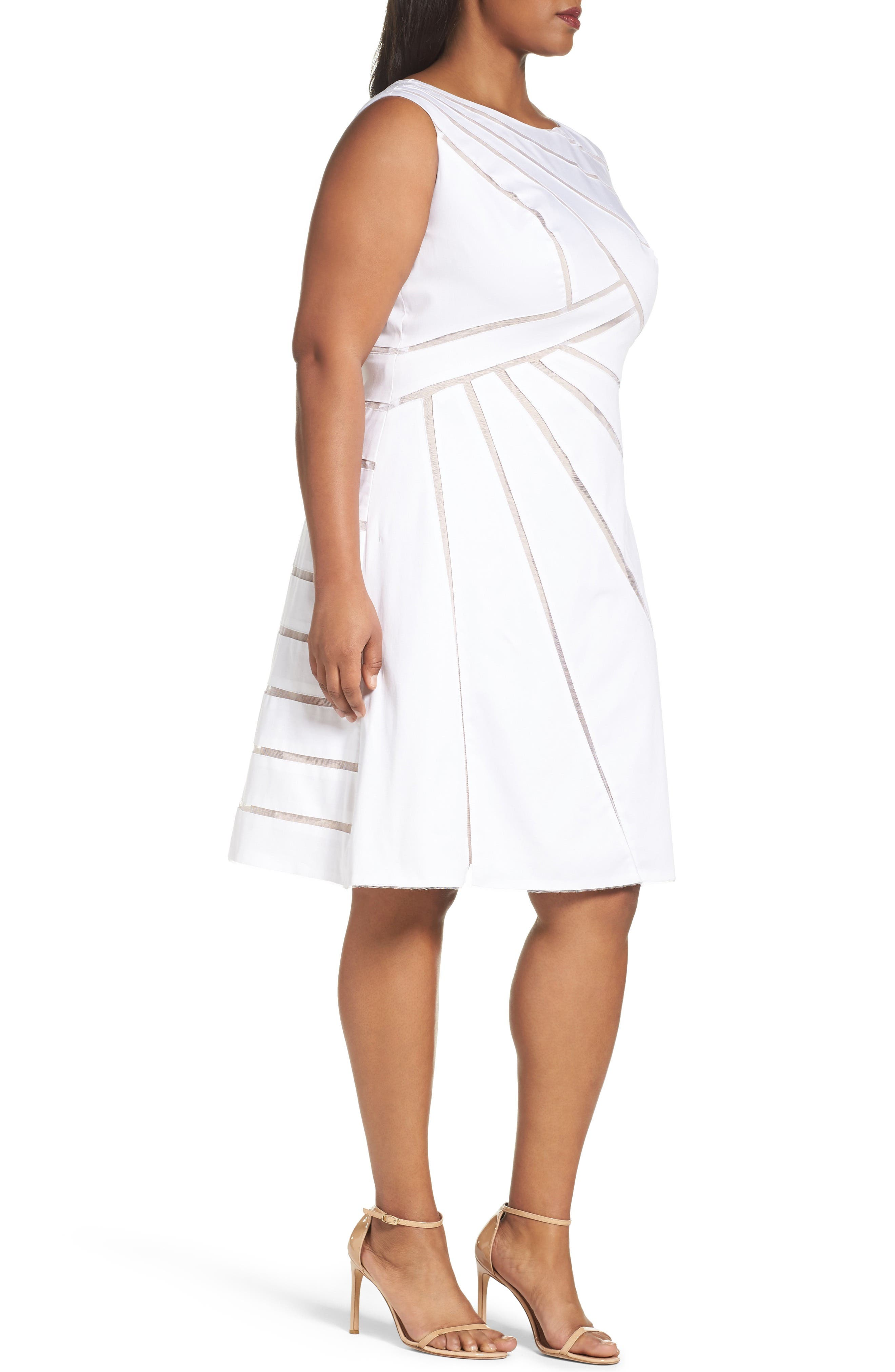 Alternate Image 3  - Adrianna Papell Shadow Stripe Fit & Flare Dress (Plus Size)
