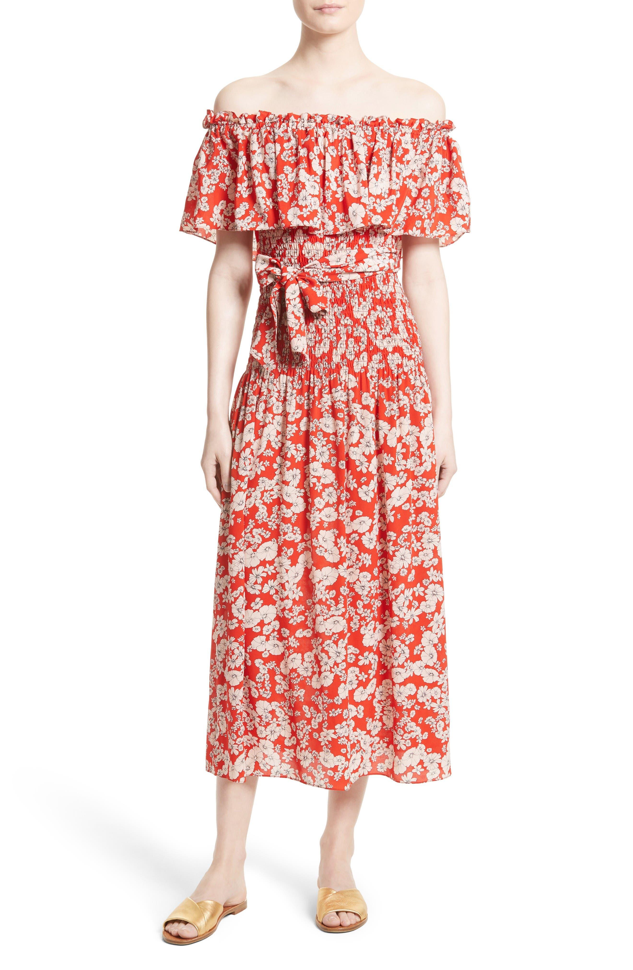 Alternate Image 1 Selected - Rebecca Taylor Cherry Blossom Silk Off the Shoulder Dress