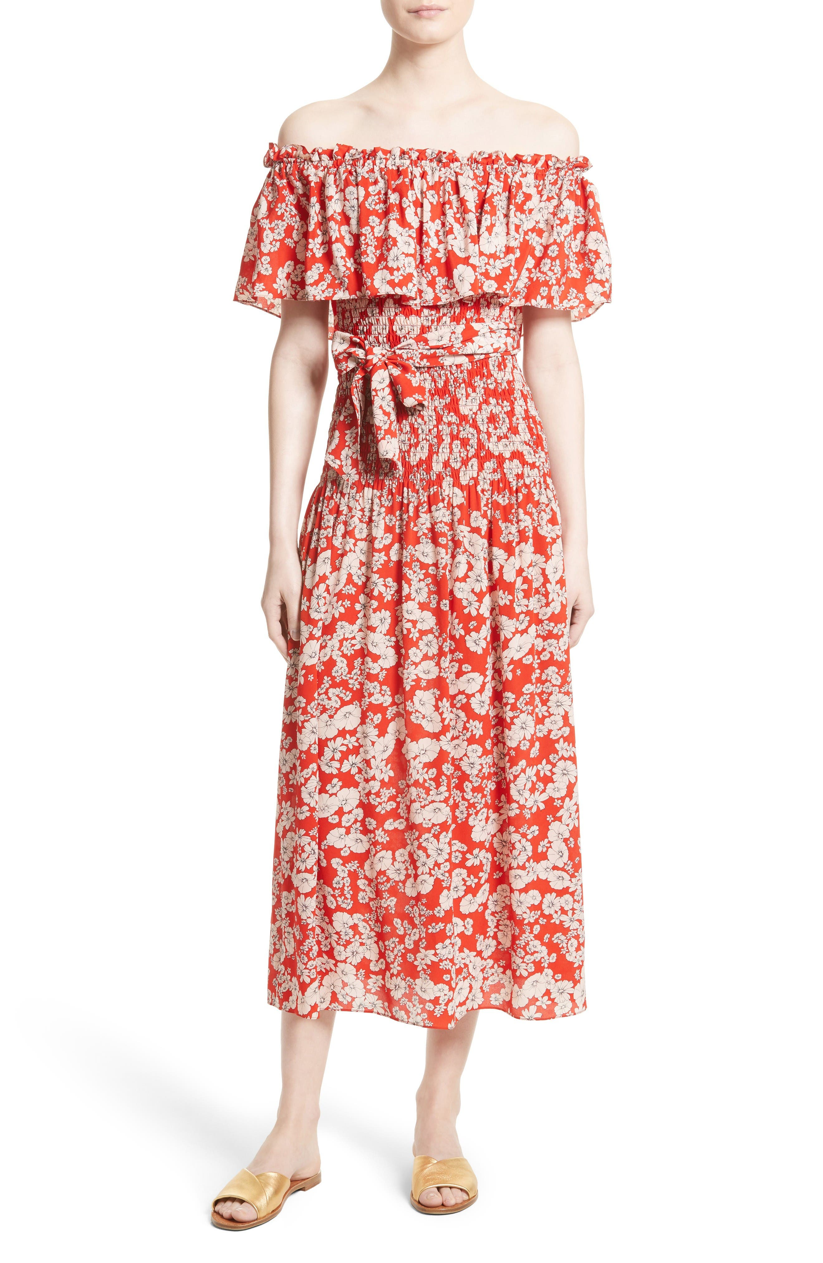 Main Image - Rebecca Taylor Cherry Blossom Silk Off the Shoulder Dress