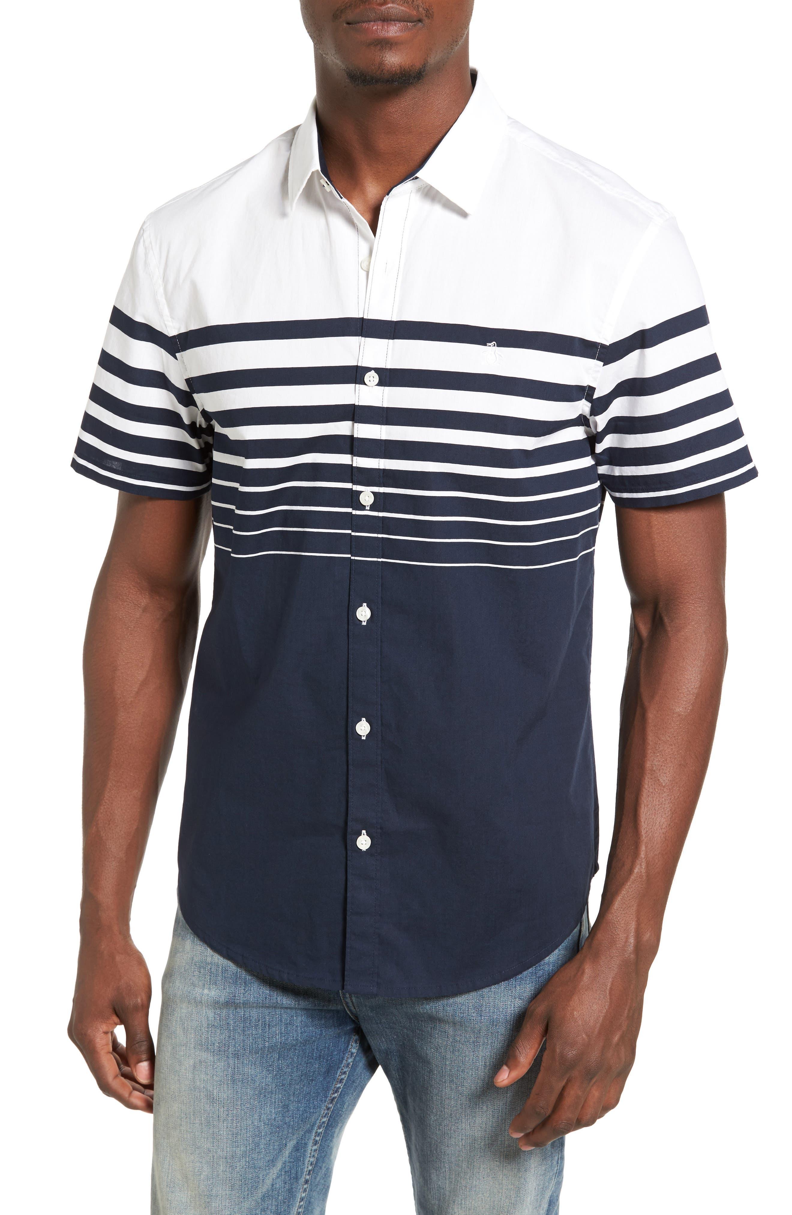 Original Penguin Striped Stretch Woven Shirt