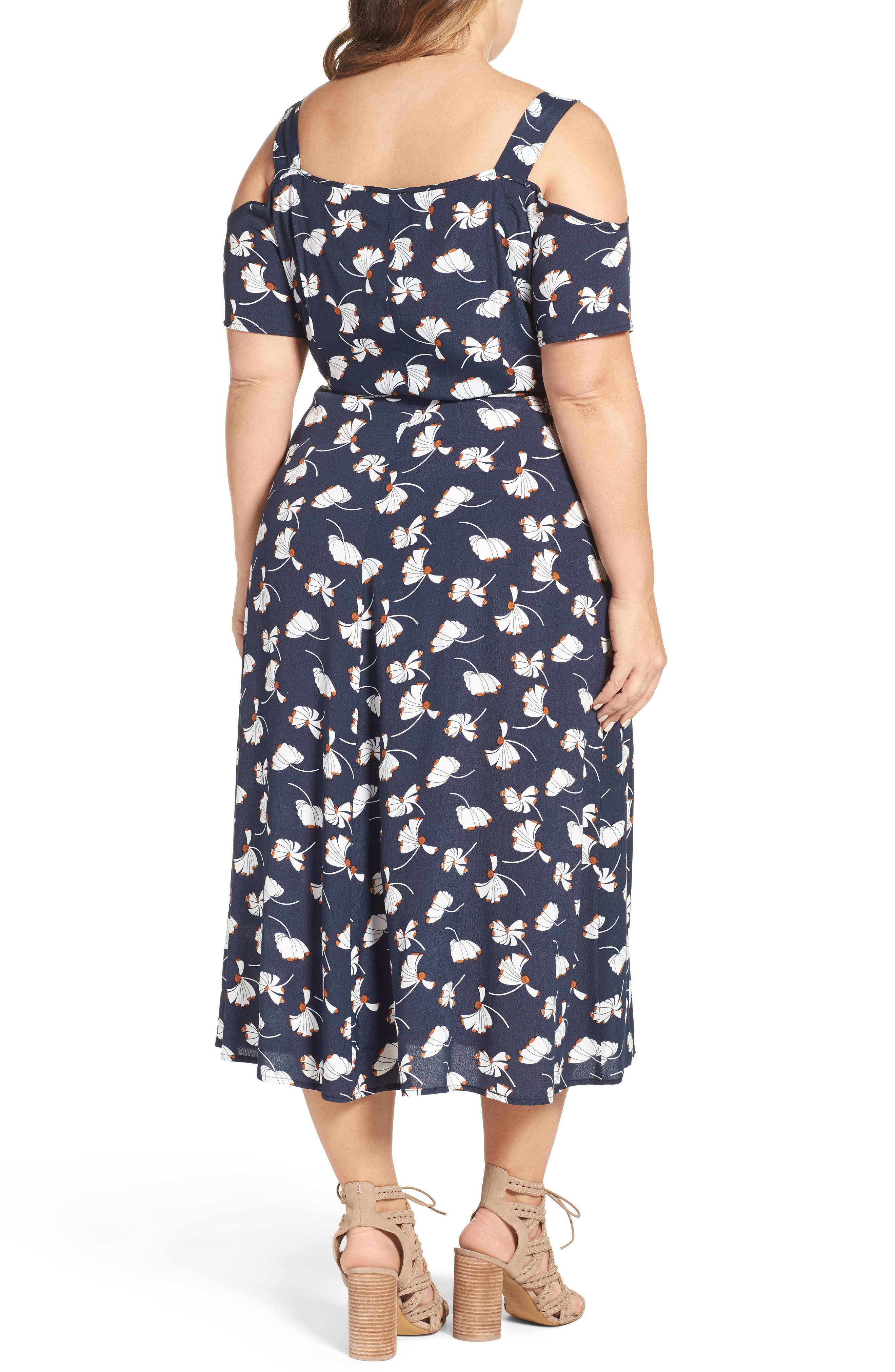 Alternate Image 2  - Glamorous Cold Shoulder Wrap Dress (Plus Size)