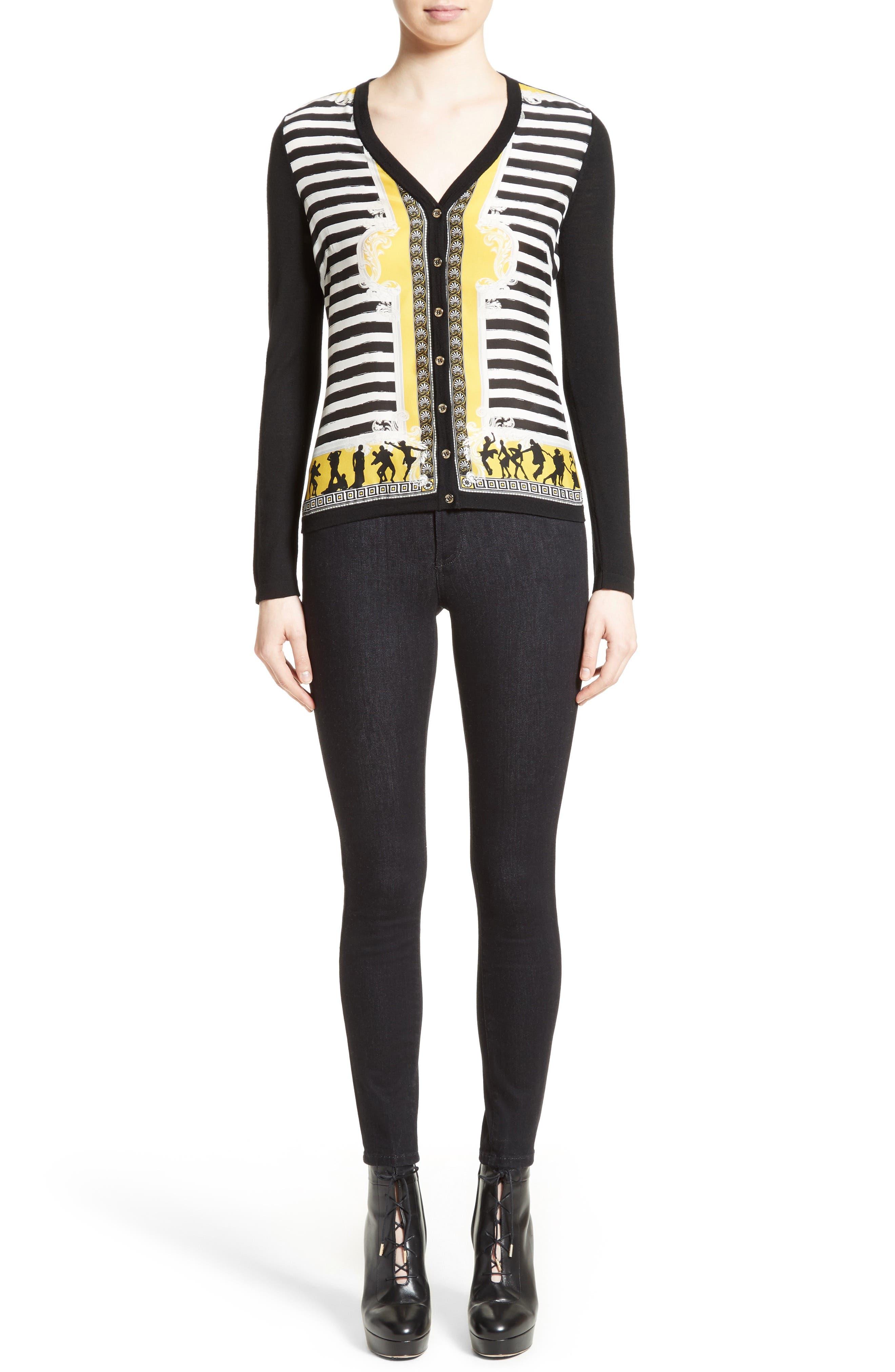 Alternate Image 7  - Versace Collection Catwalk Print Silk & Wool Cardigan