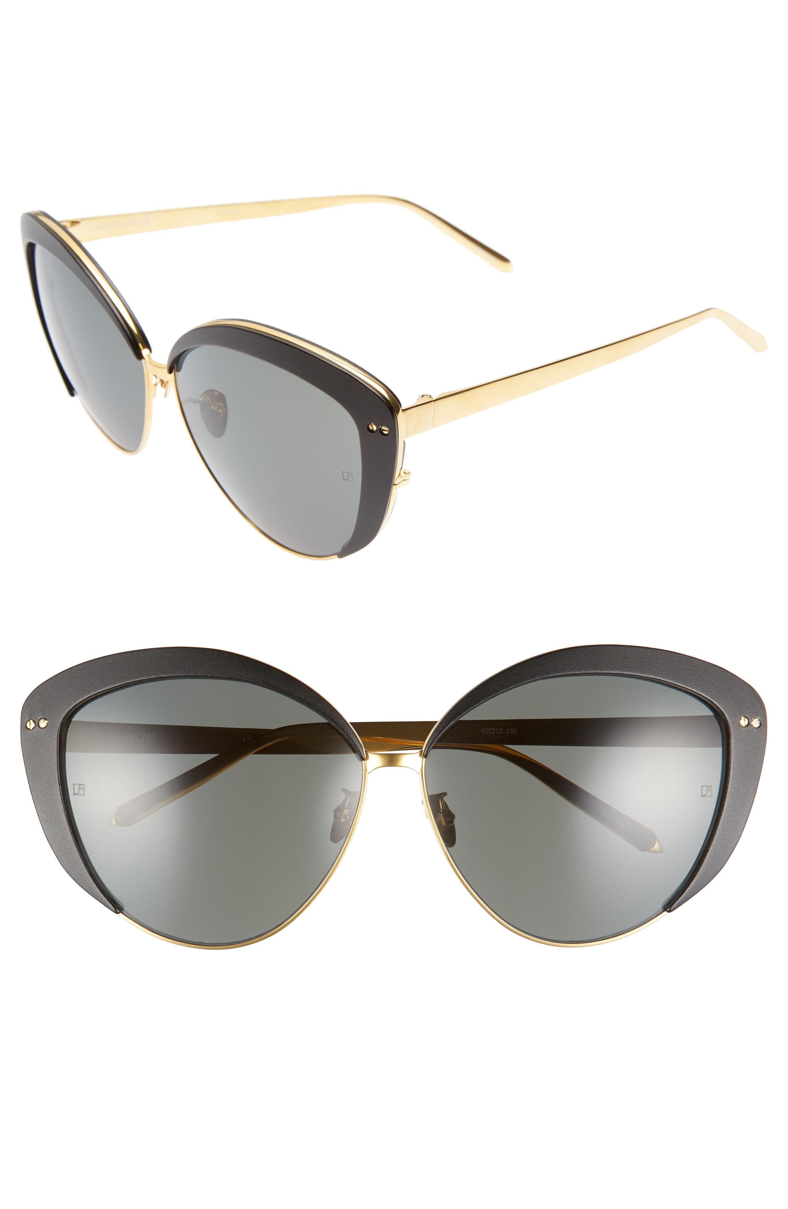 Linda Farrow 62mm 22 Karat Gold Trim Cat Eye Sunglasses