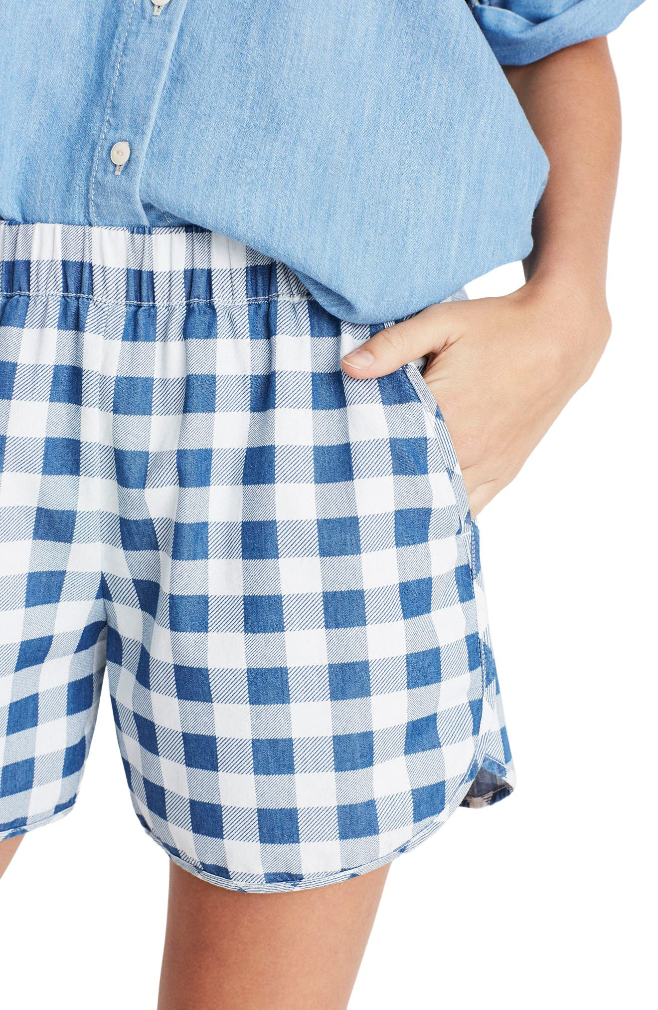 Alternate Image 4  - Madewell Gingham Check Pull-On Shorts