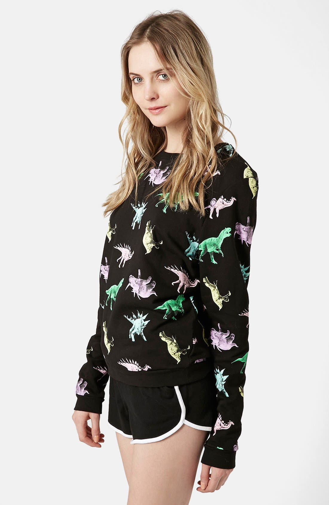 Main Image - Topshop Fleece Lined Dinosaur Sweatshirt