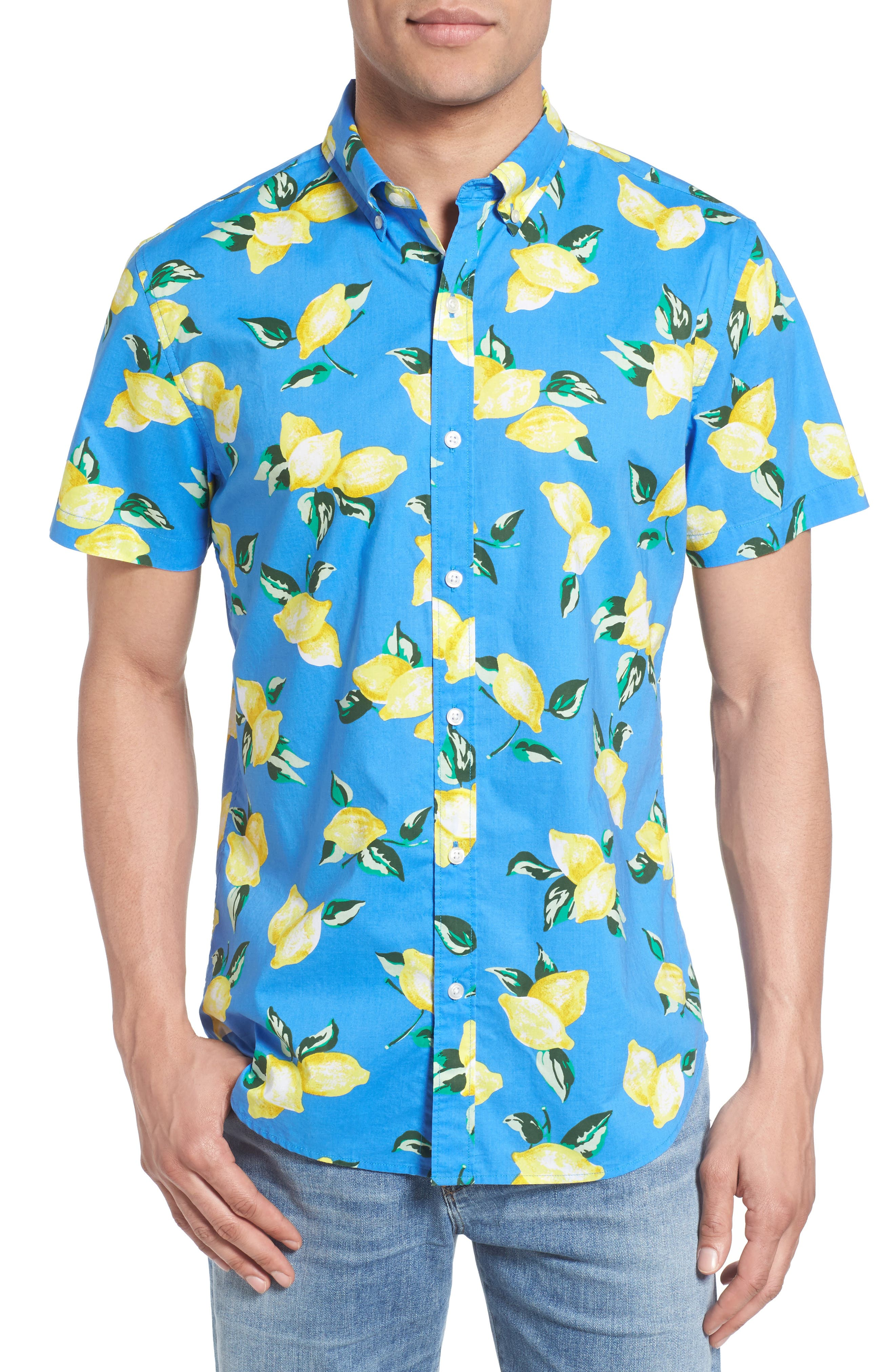 Bonobos Slim Fit Short Sleeve Lemon Print Sport Shirt