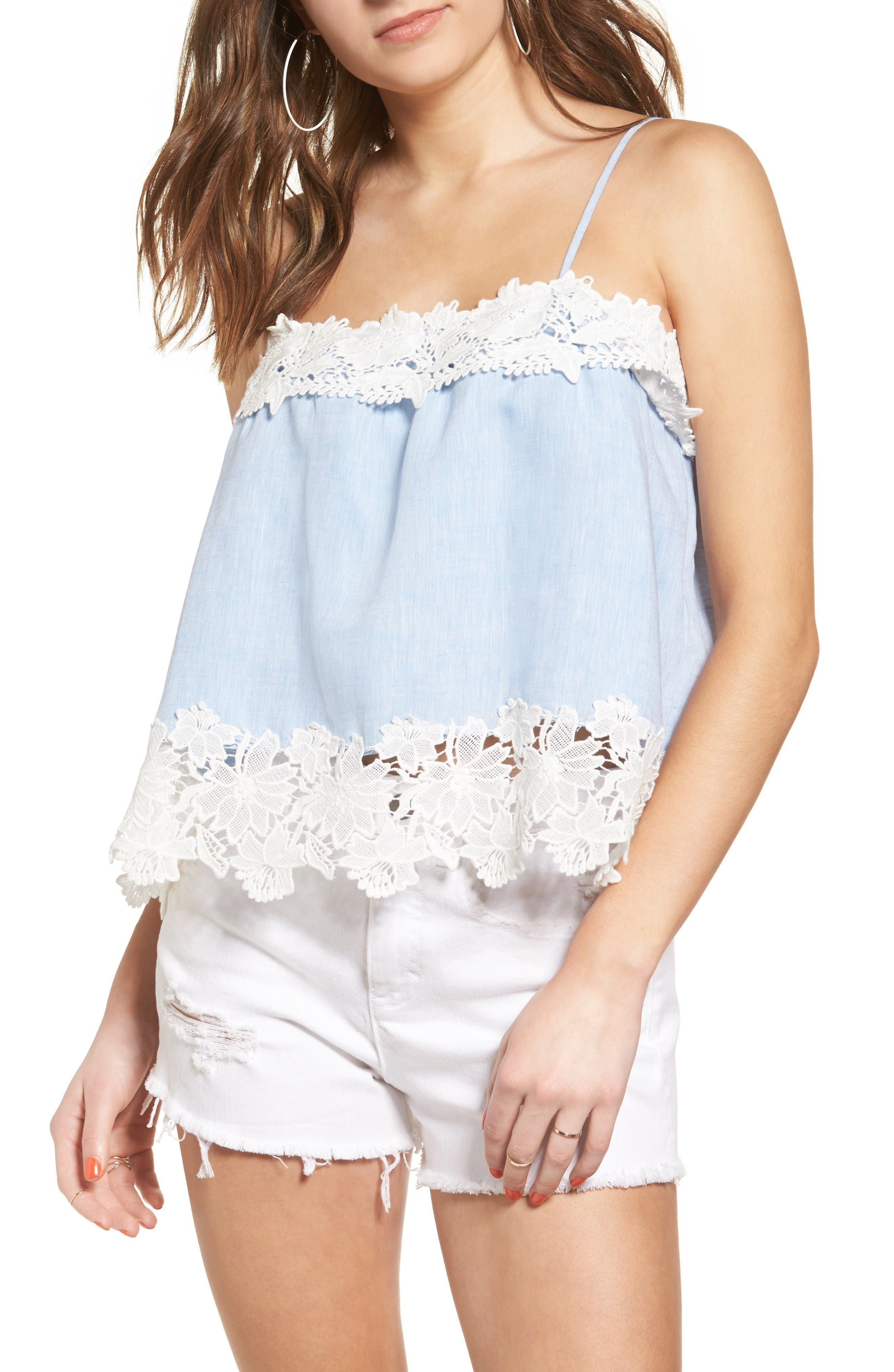 BLANKNYC Perfect Strangers Lace Trim Camisole