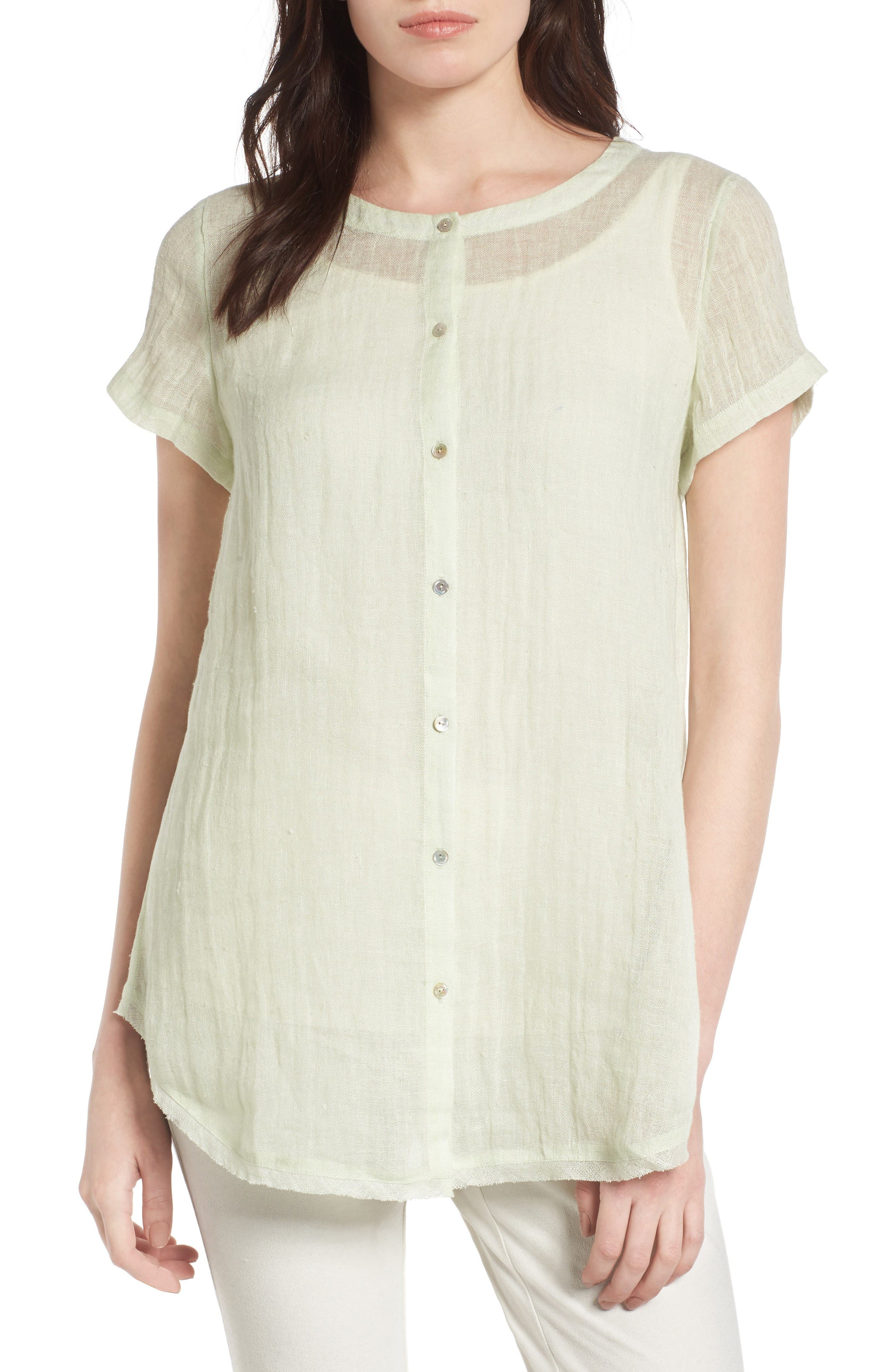 Eileen Fisher Button Front Organic Linen Tunic