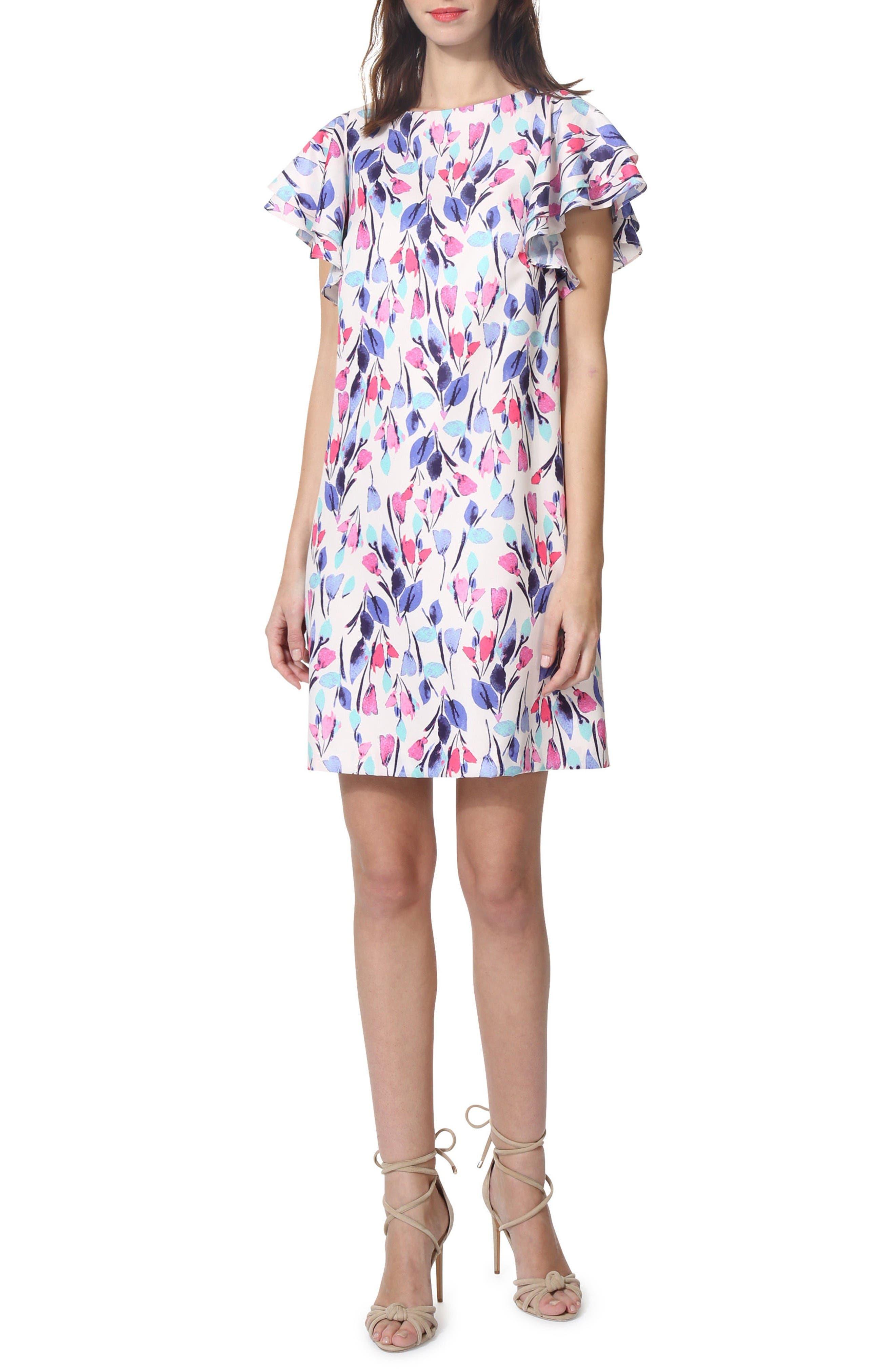 Donna Morgan Chiffon Floral Shift Dress