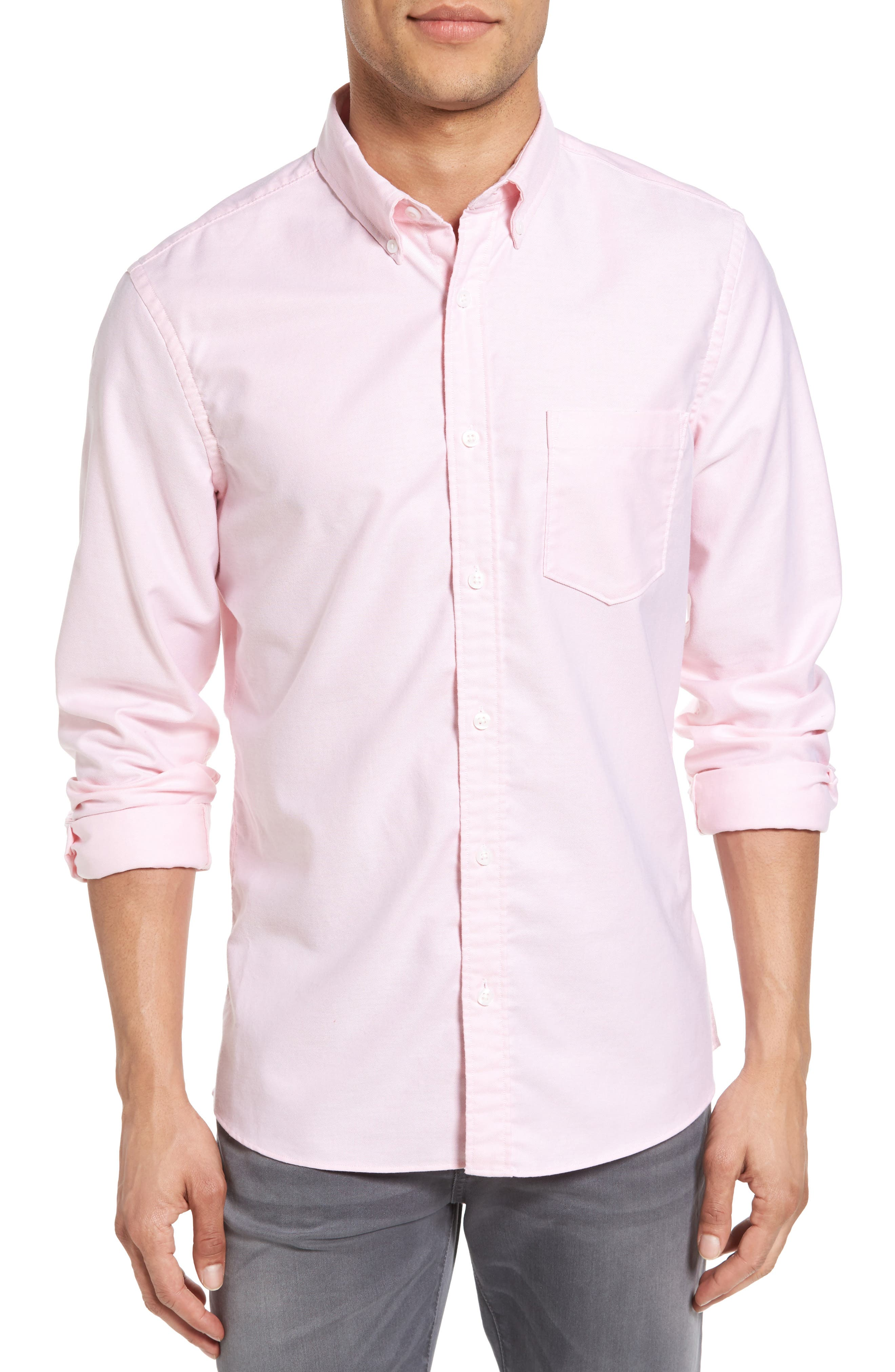 Nordstrom Men's Shop Trim Fit Washed Oxford Shirt