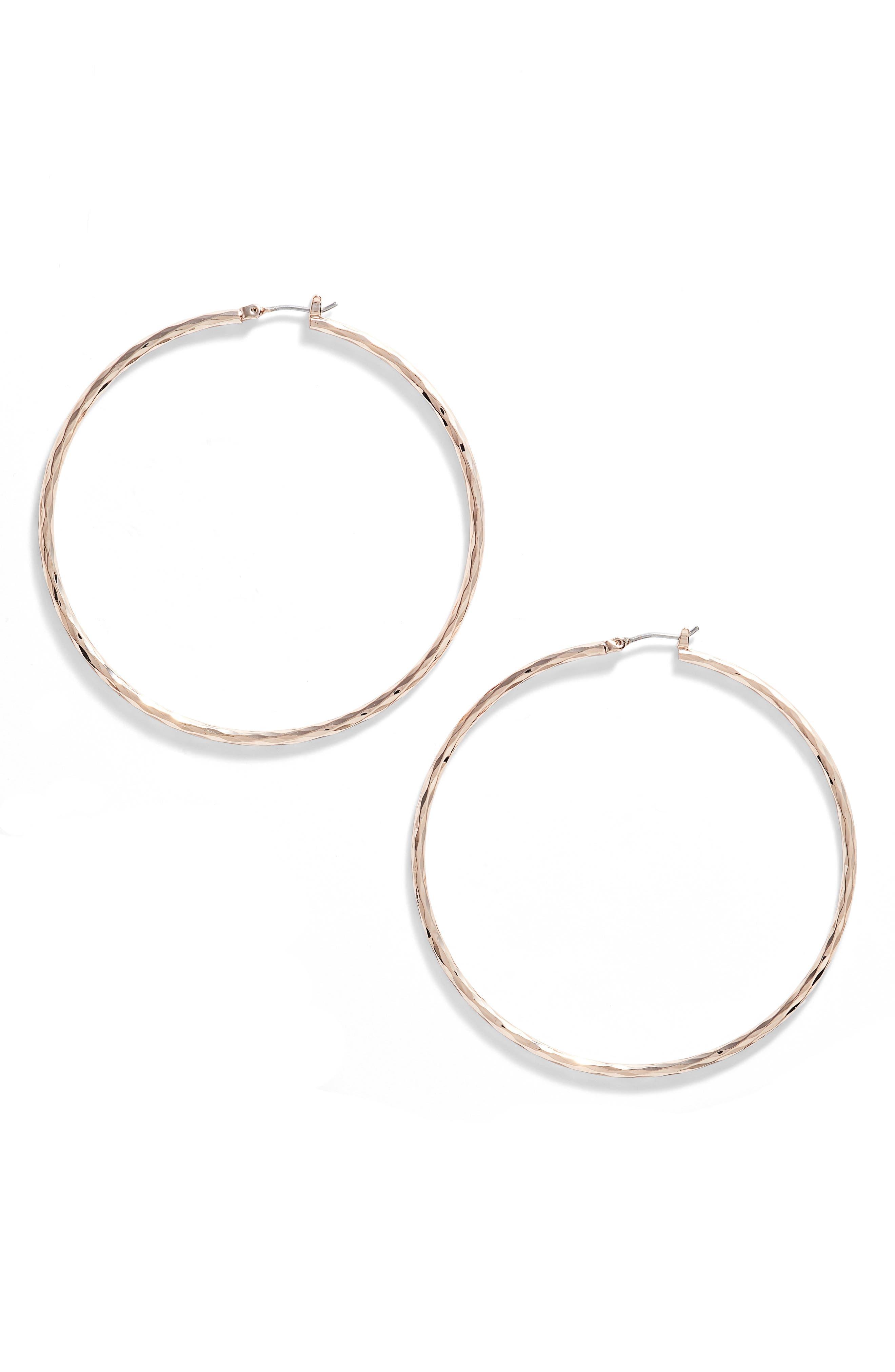 Alternate Image 1 Selected - Nordstrom Hammered Hoop Earrings