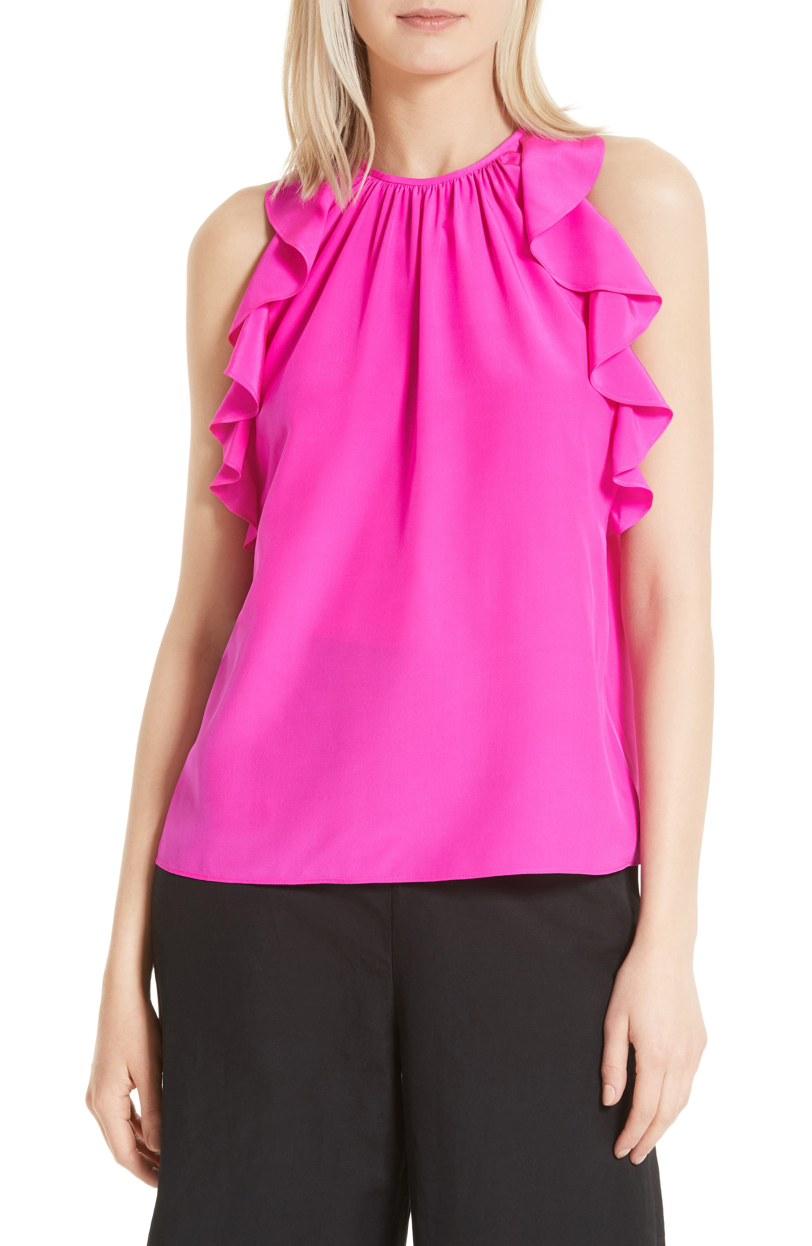 kate spade new york ruffle silk top
