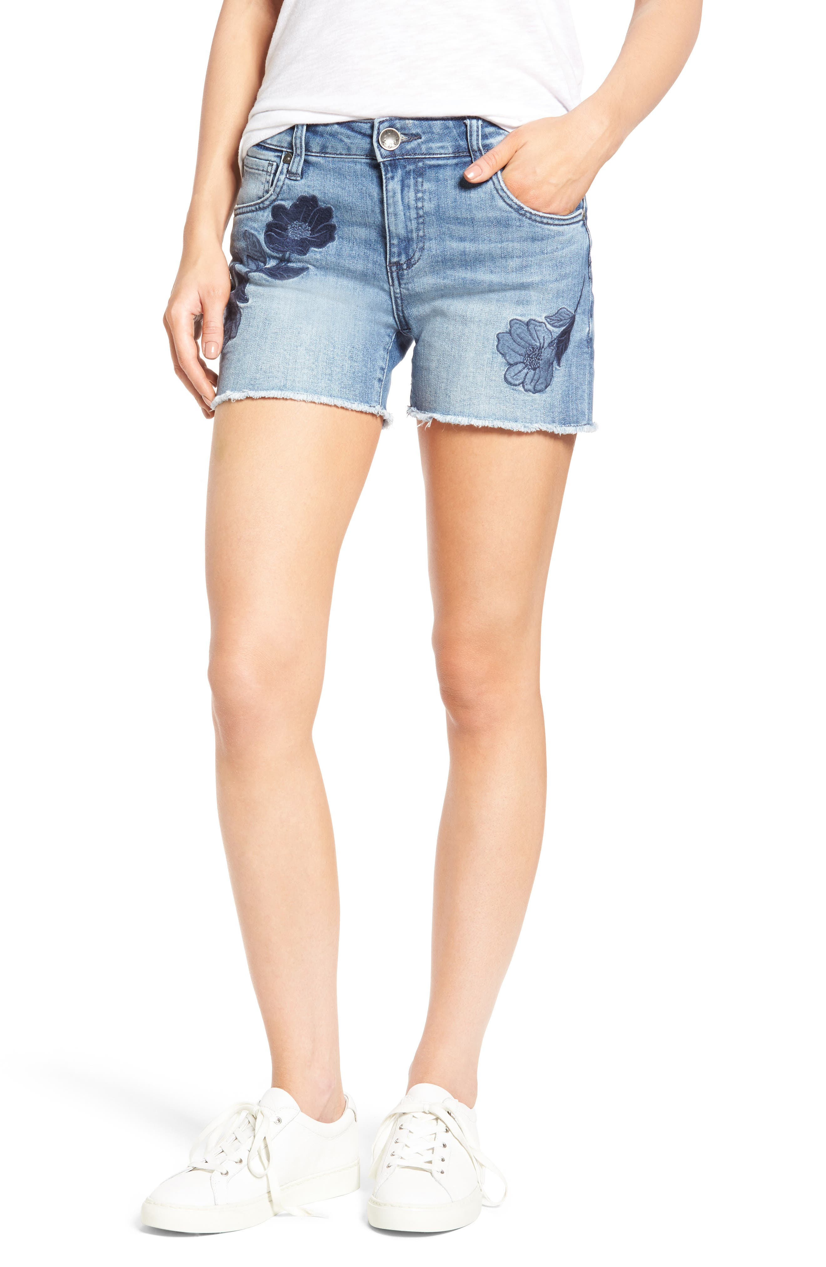 KUT from the Kloth Gidget Embroidered Denim Cutoff Shorts