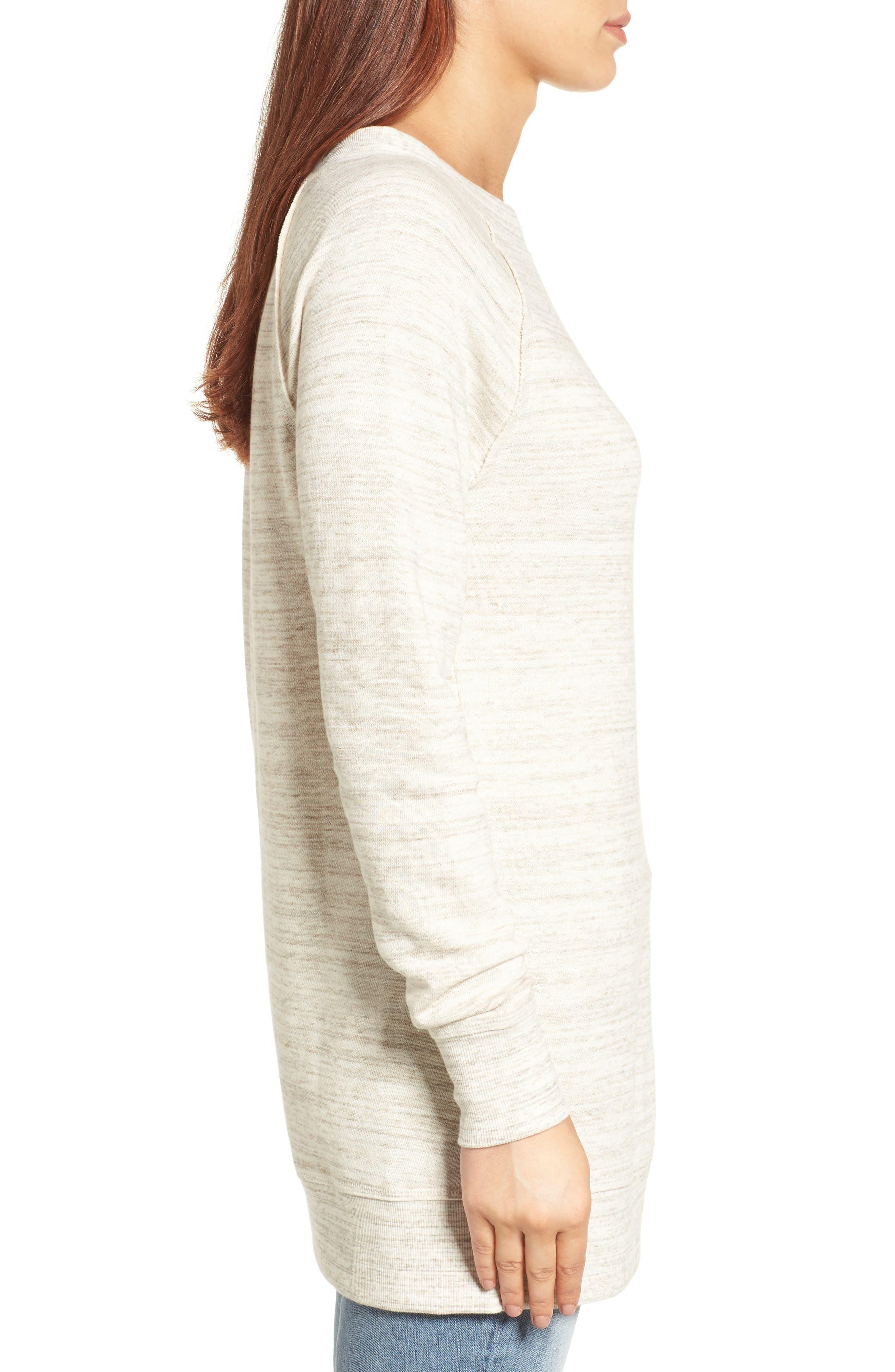 Alternate Image 3  - Caslon® Space Dye Tunic Sweatshirt (Regular & Petite)