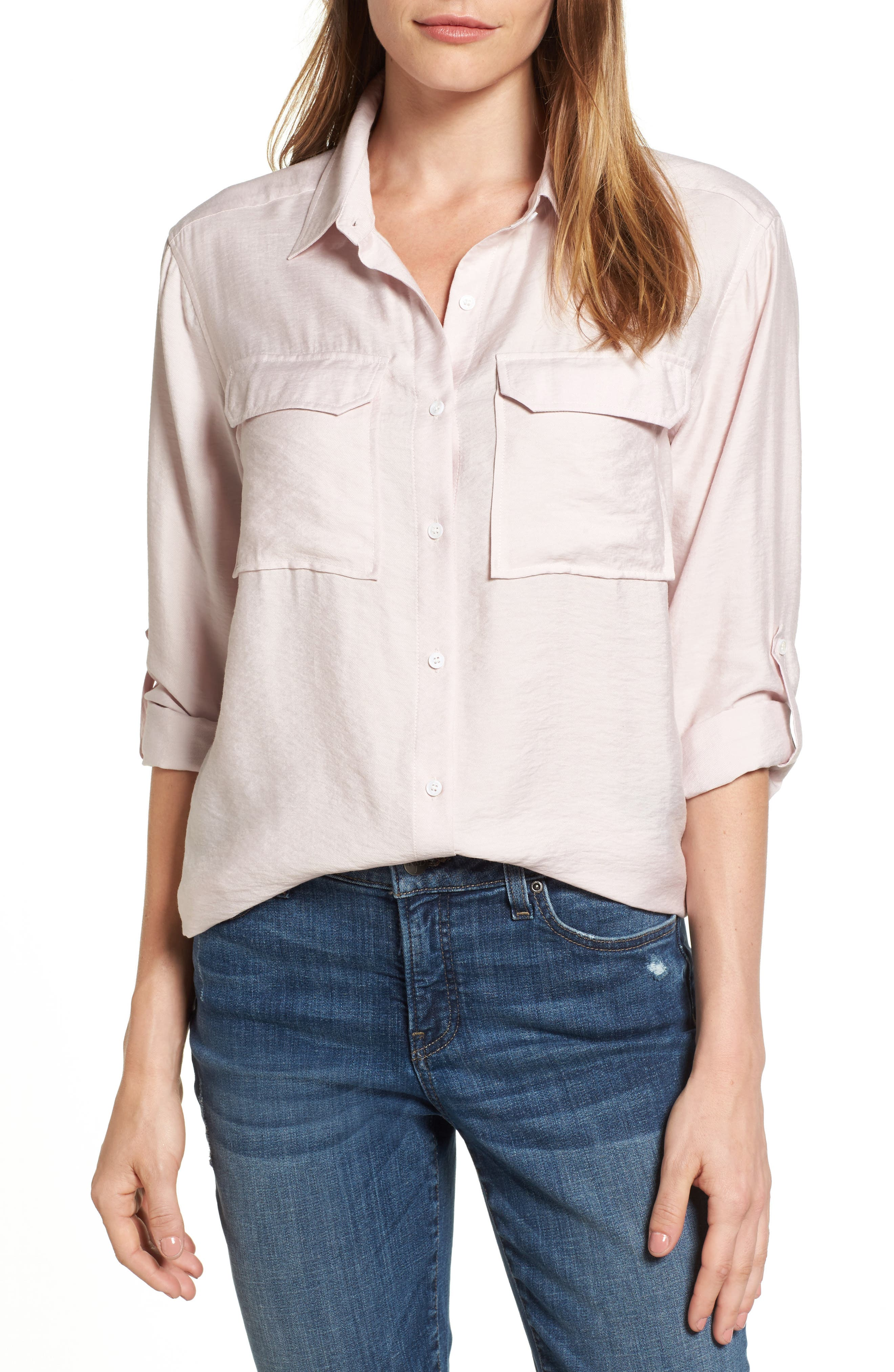 Two by Vince Camuto Rumple Roll Sleeve Shirt (Regular & Petite)