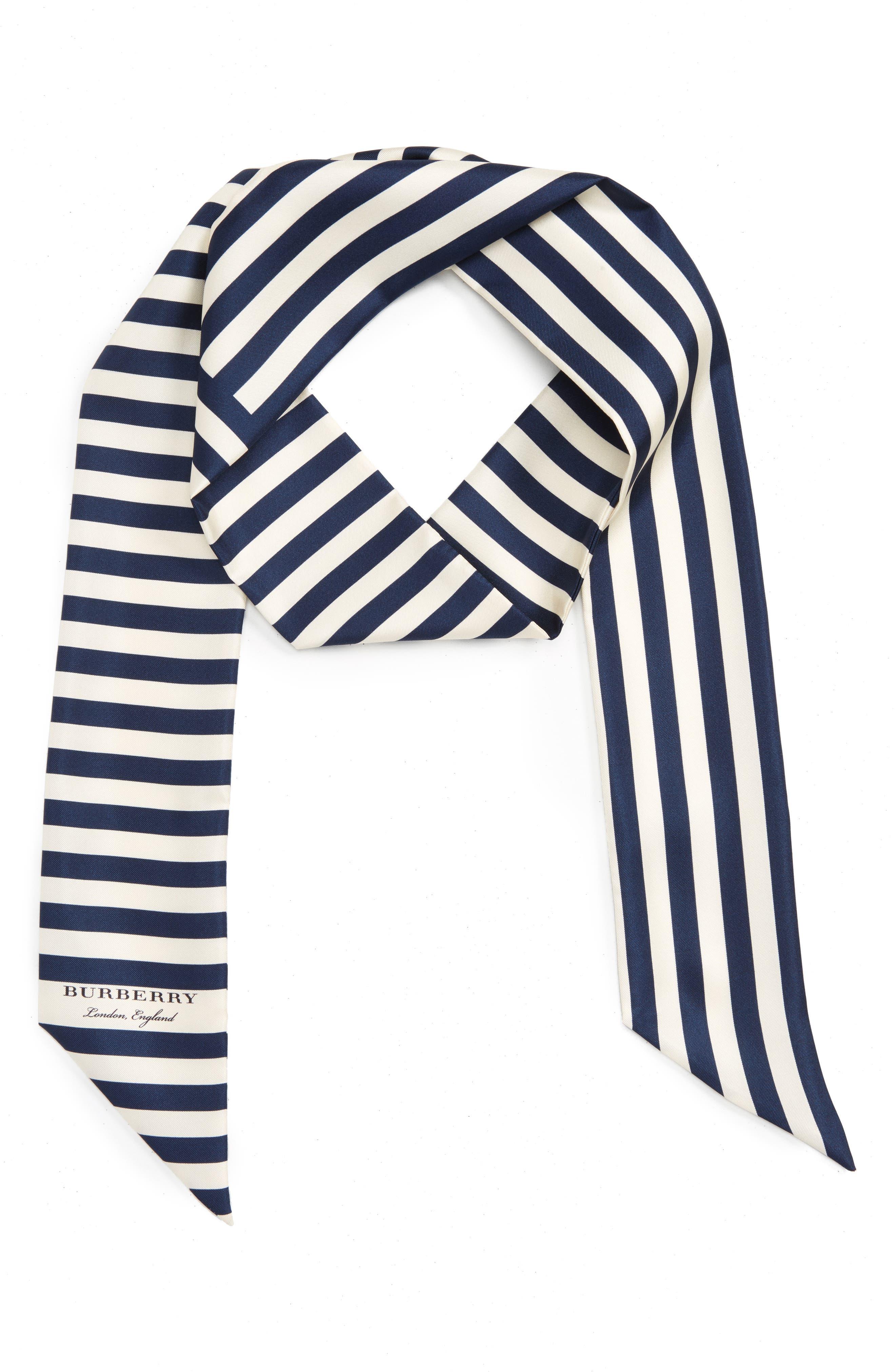 Burberry Stripe Silk Skinny Scarf