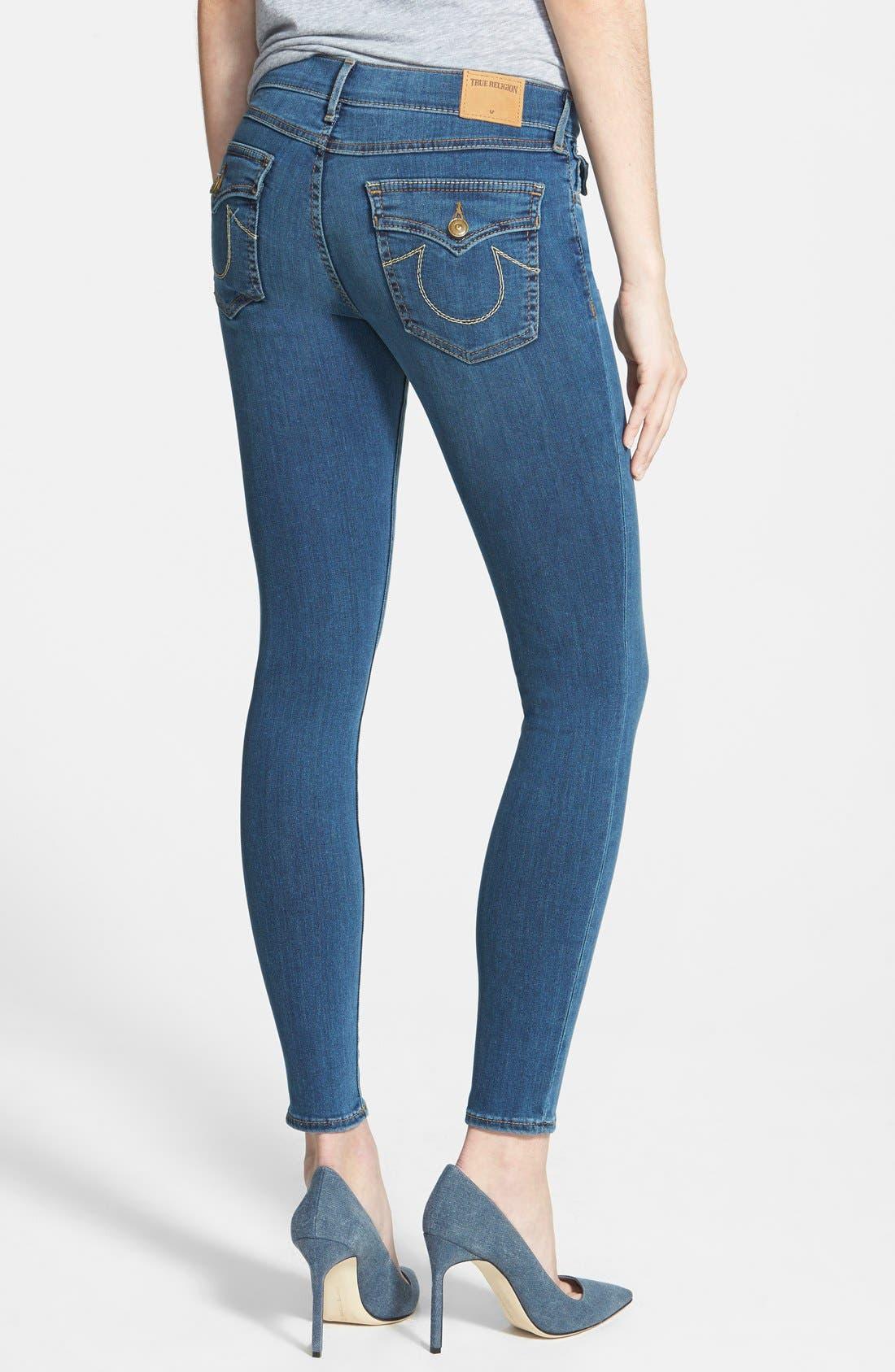 Alternate Image 2  - True Religion Brand Jeans 'Halle' Mid Rise Super Skinny Jeans (Love No Less)