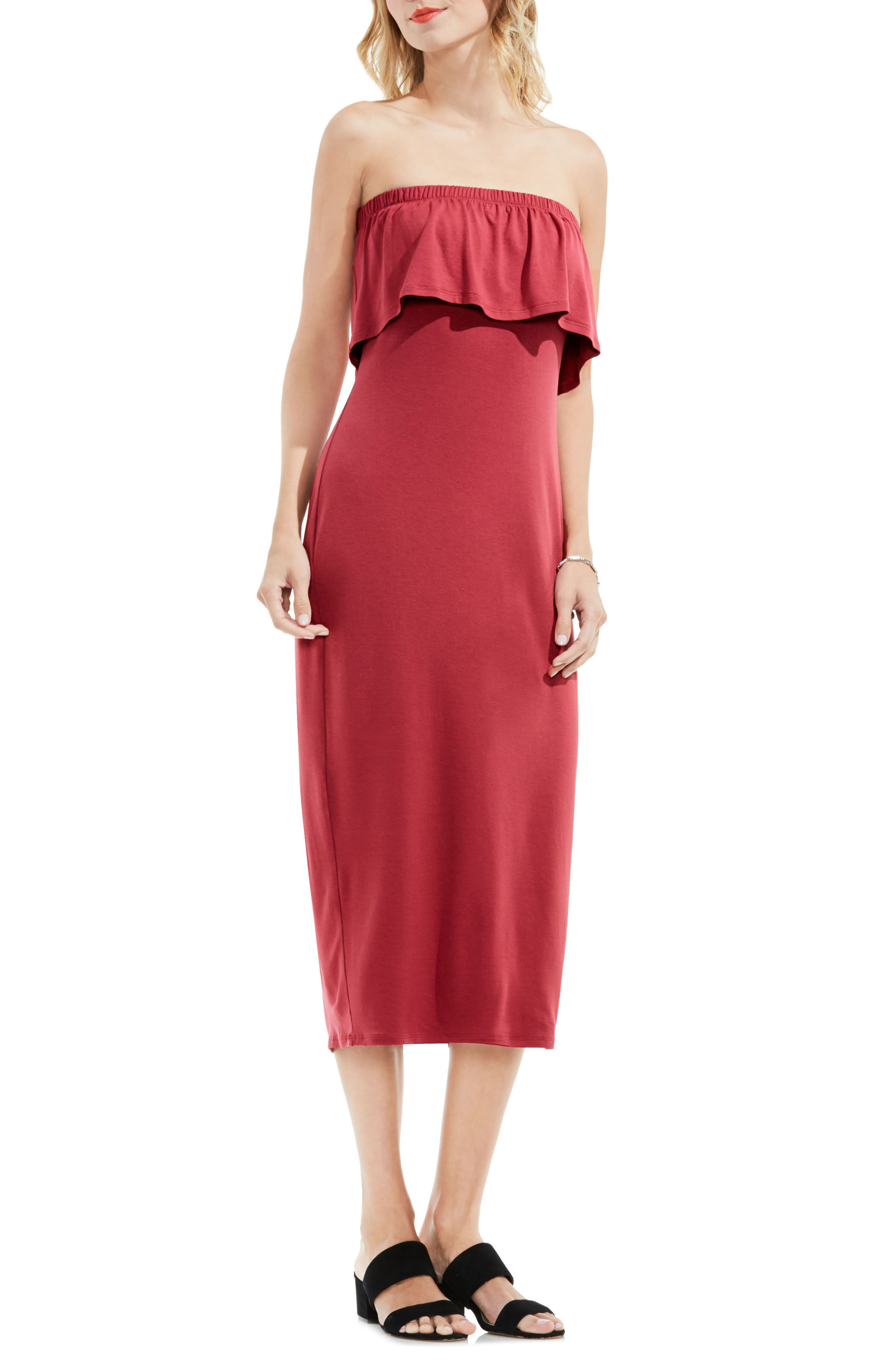 Vince Camuto Ruffle Off the Shoulder Midi Dress