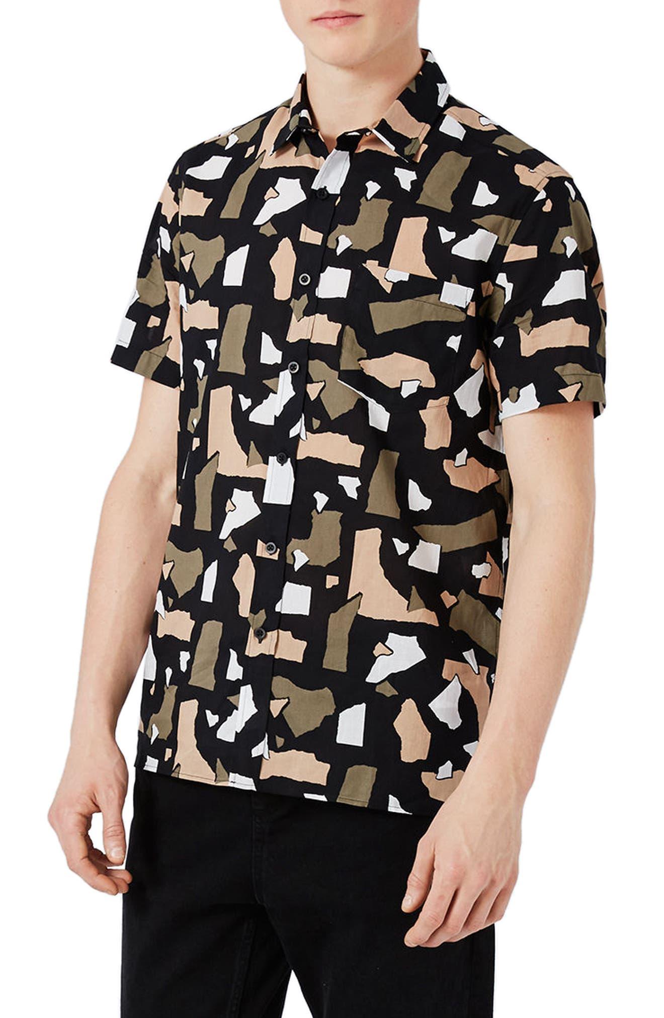 Topman Torn Paper Print Shirt