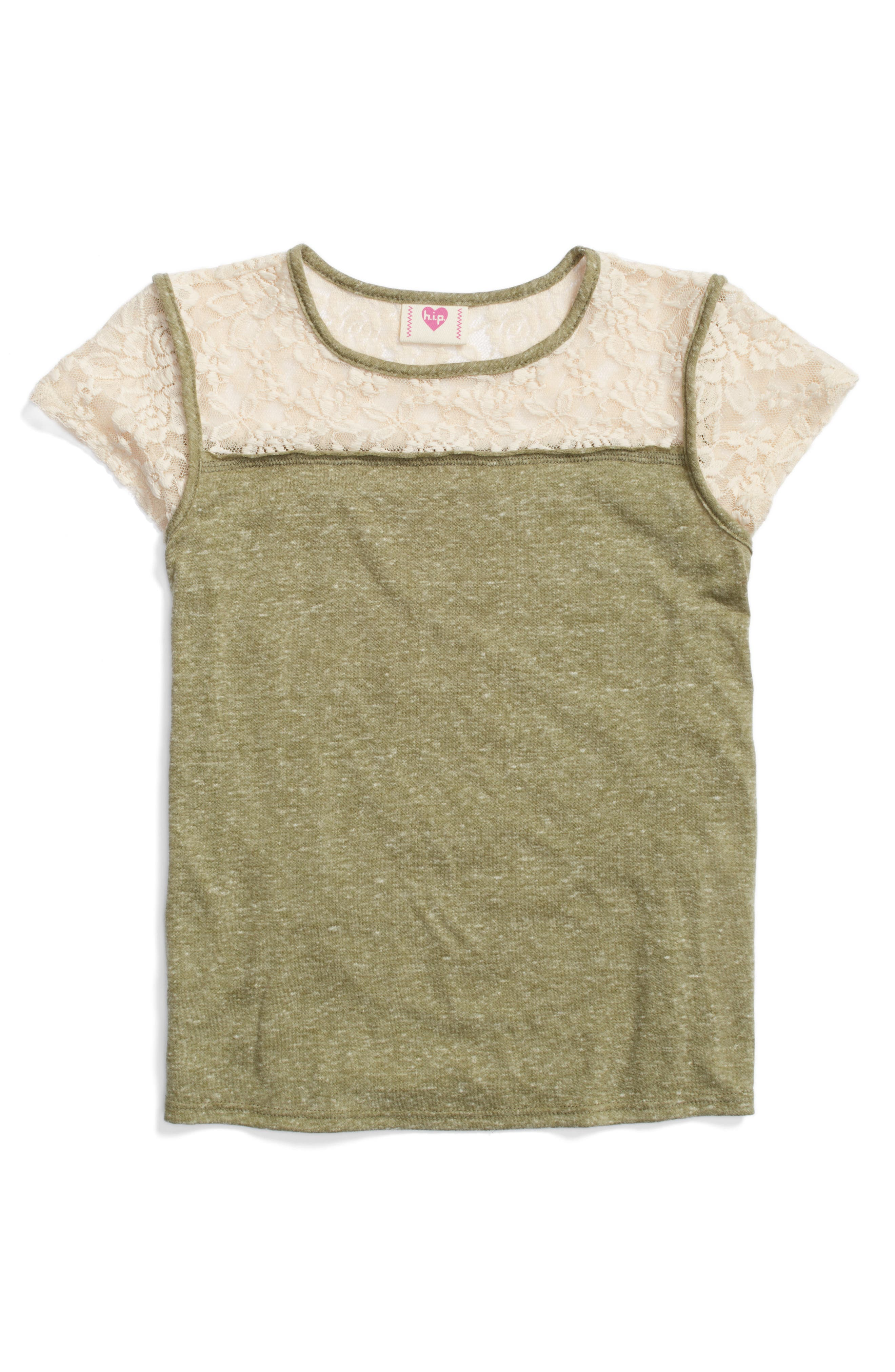 h.i.p. Lace Trim Tee (Big Girls)