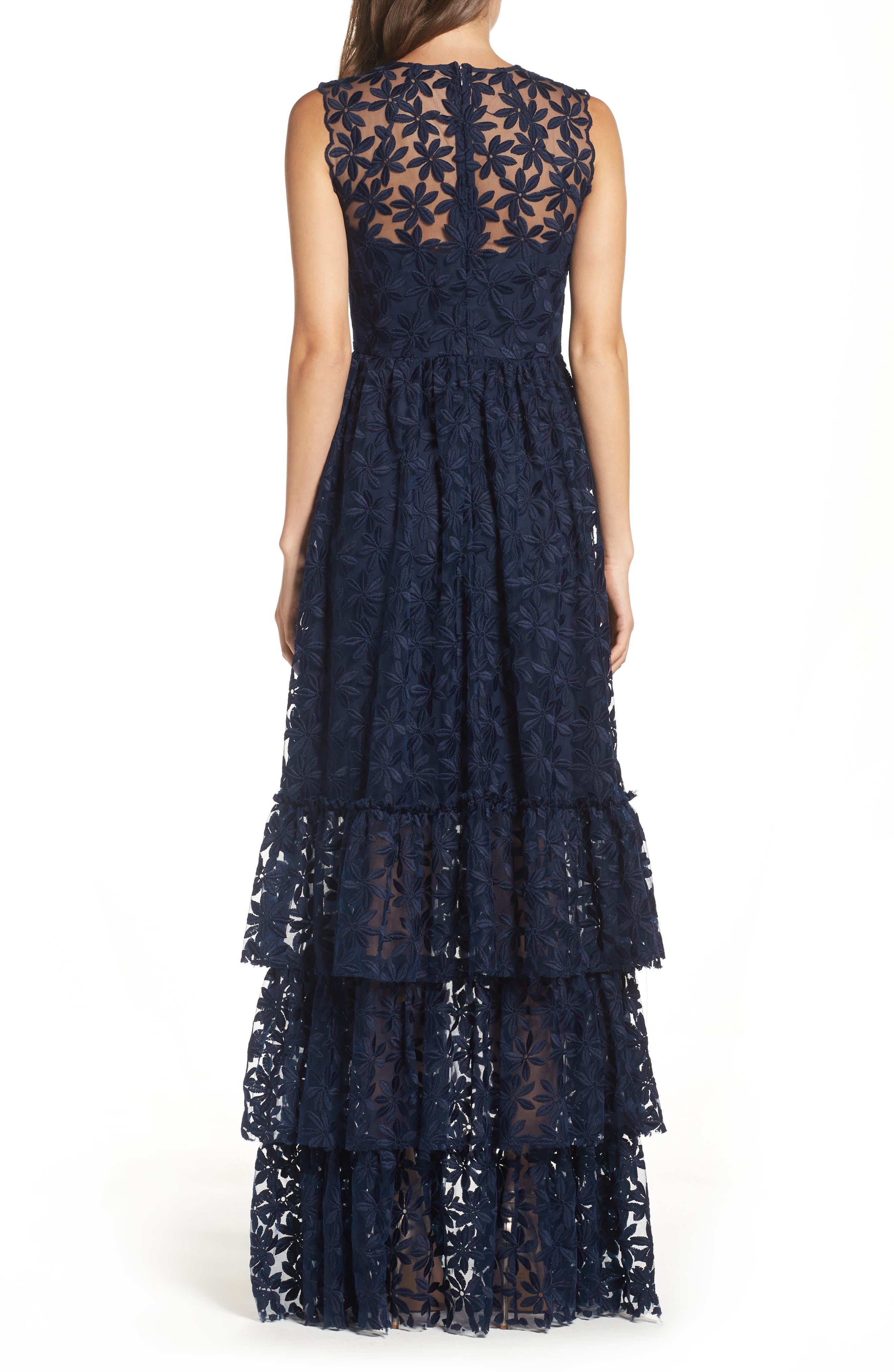 Alternate Image 2  - Shoshanna Fowler Tiered Lace Gown