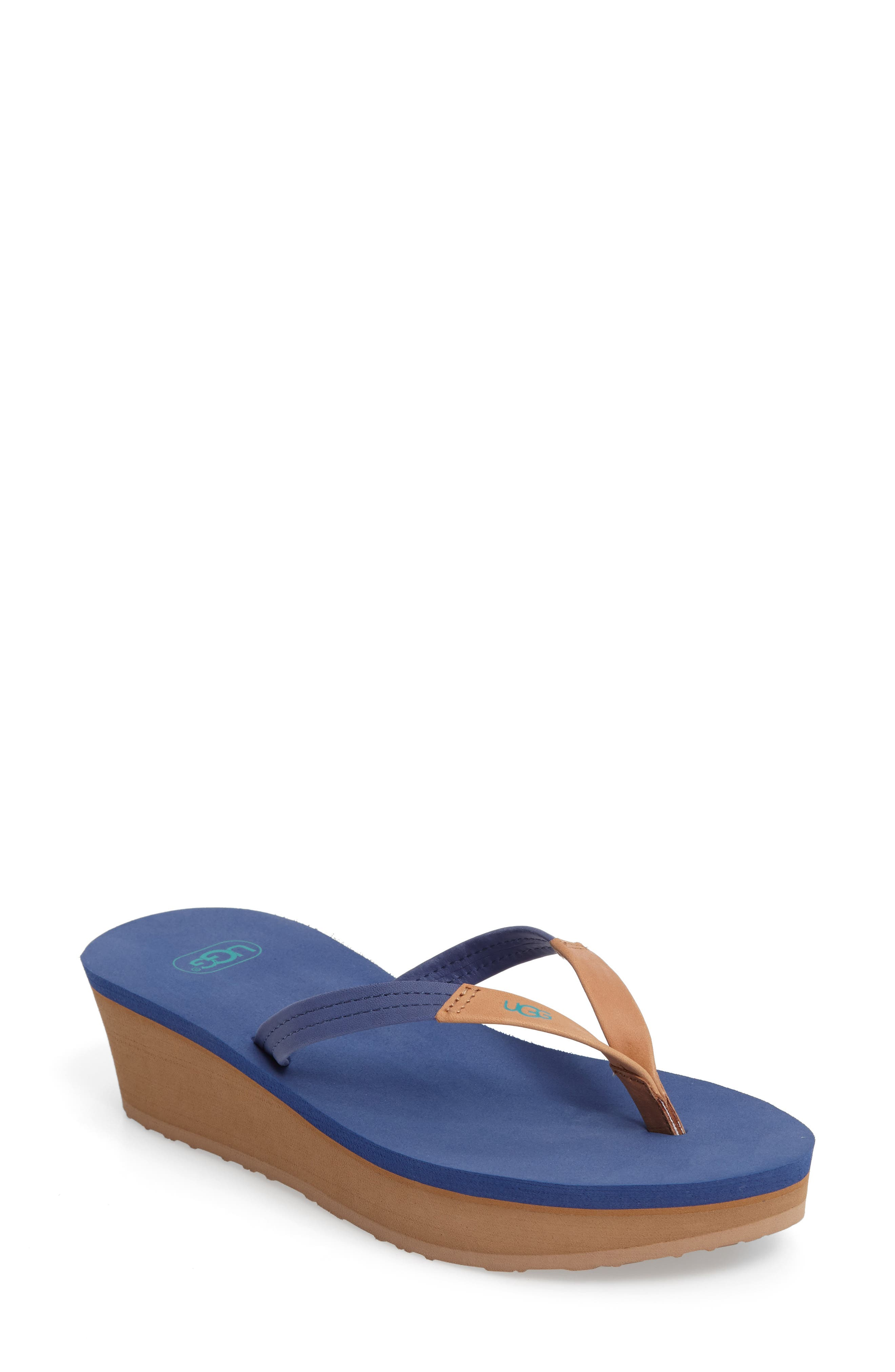 UGG® 'Ruby' Wedge Thong Sandal (Women)