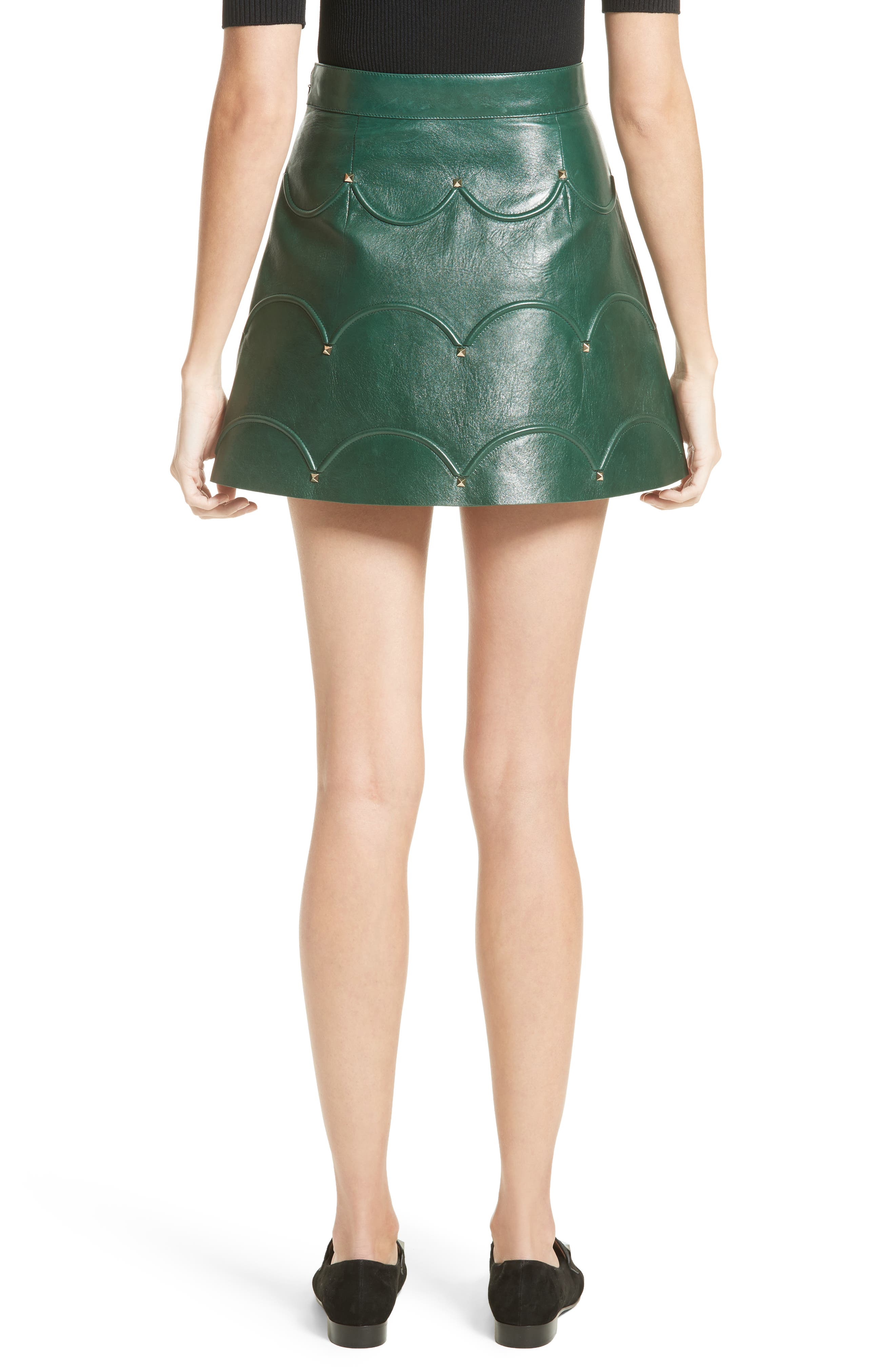 Alternate Image 2  - Valentino Scallop Detail Leather Miniskirt