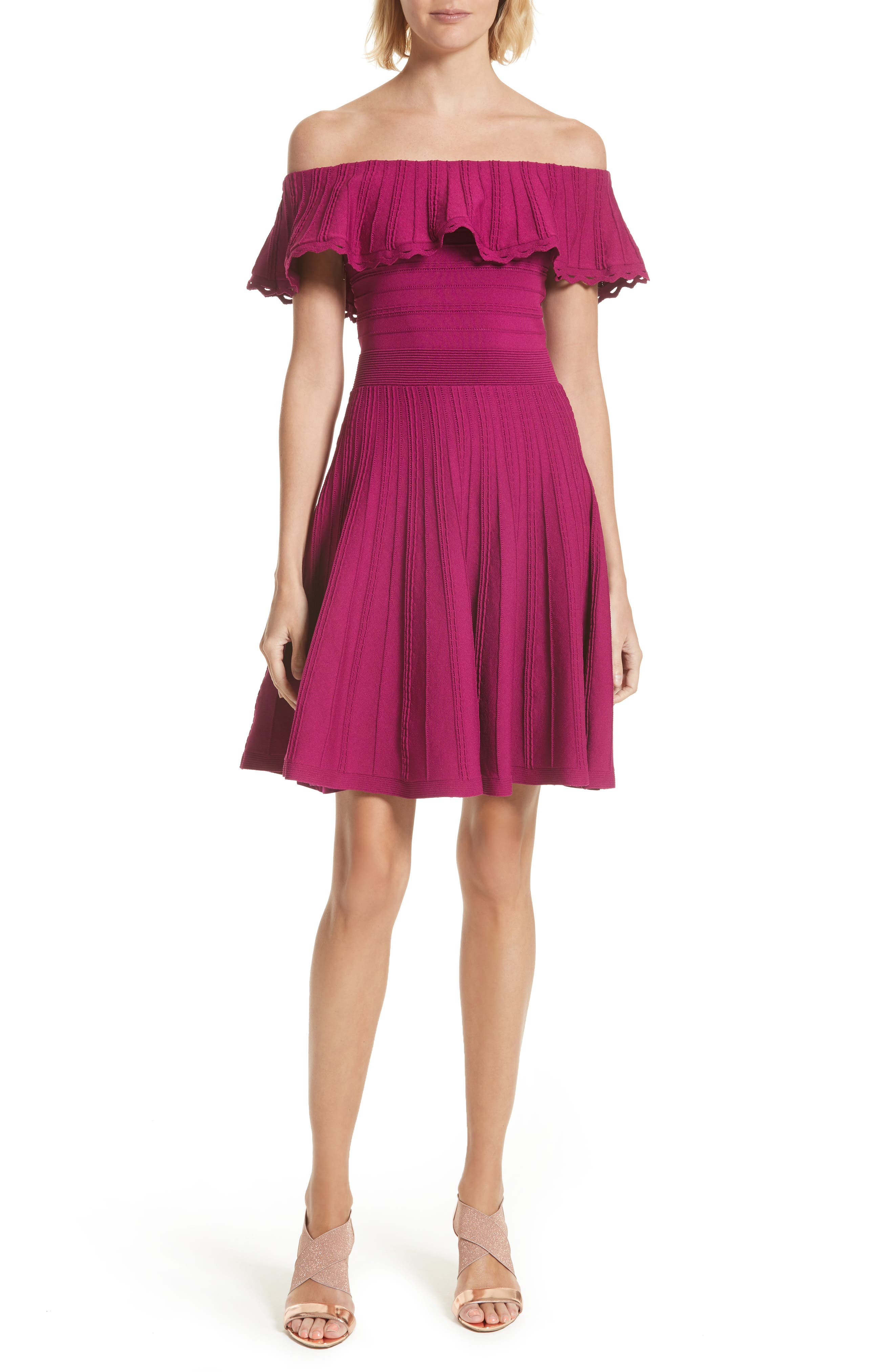 Ted Baker London Dilpree Off the Shoulder Knit Skater Dress