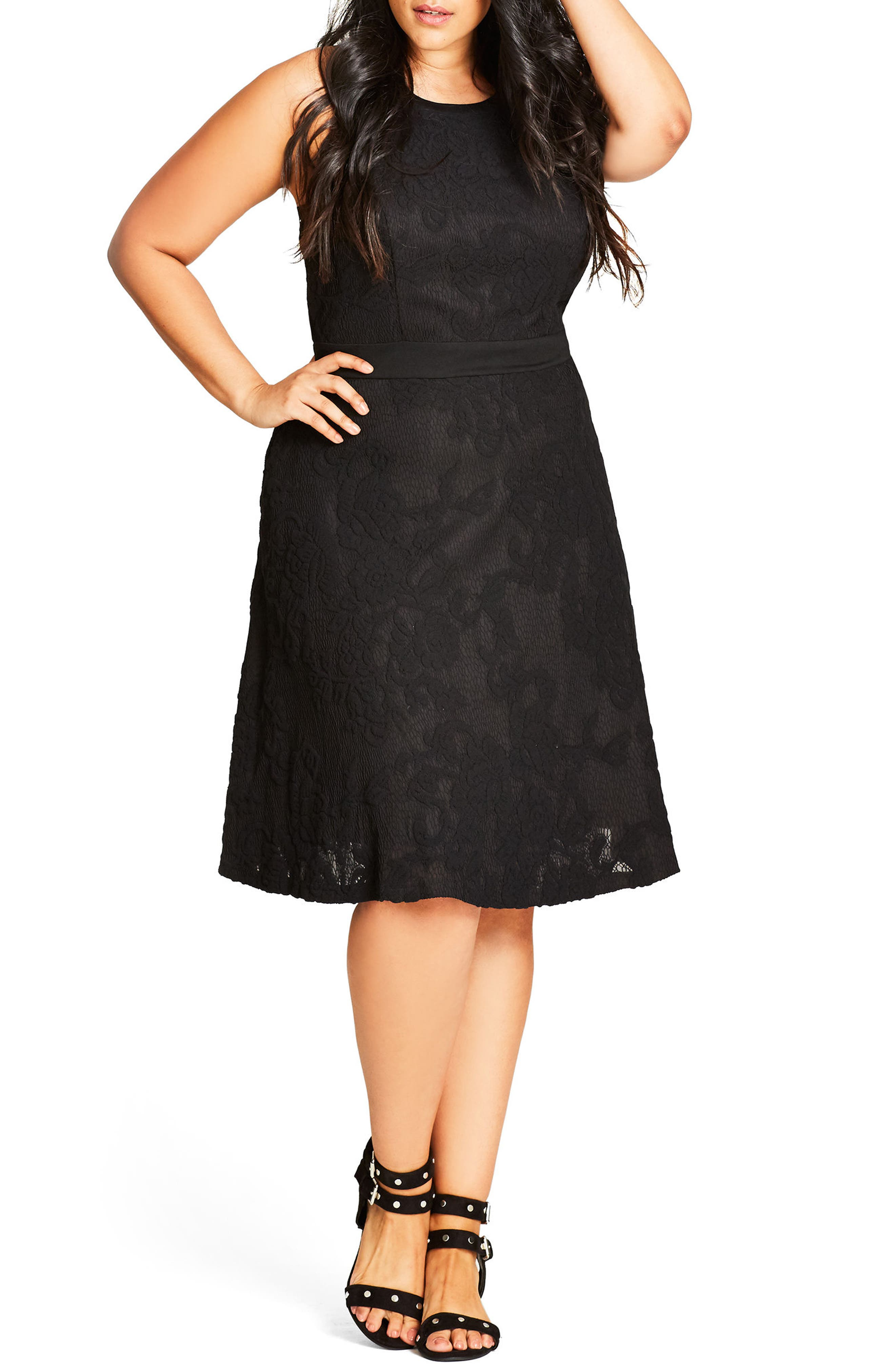 City Chic Lace Fit & Flare Dress (Plus Size)