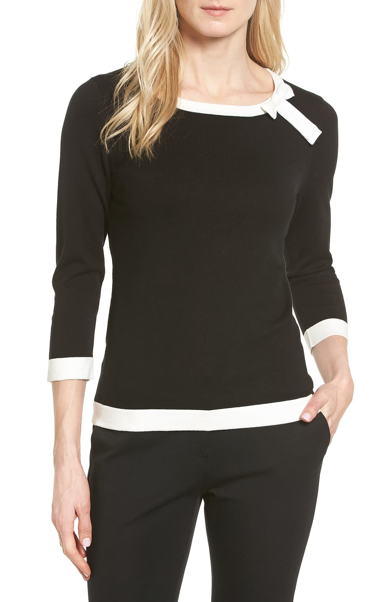 CeCe Bow Trim Tipped Sweater