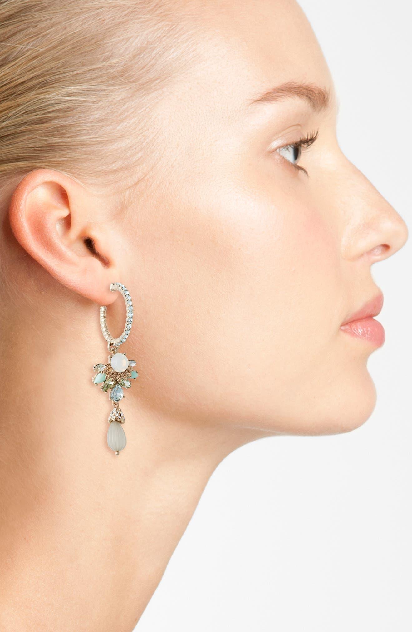 Alternate Image 2  - Marchesa Sheer Bliss Hoop Drop Earrings
