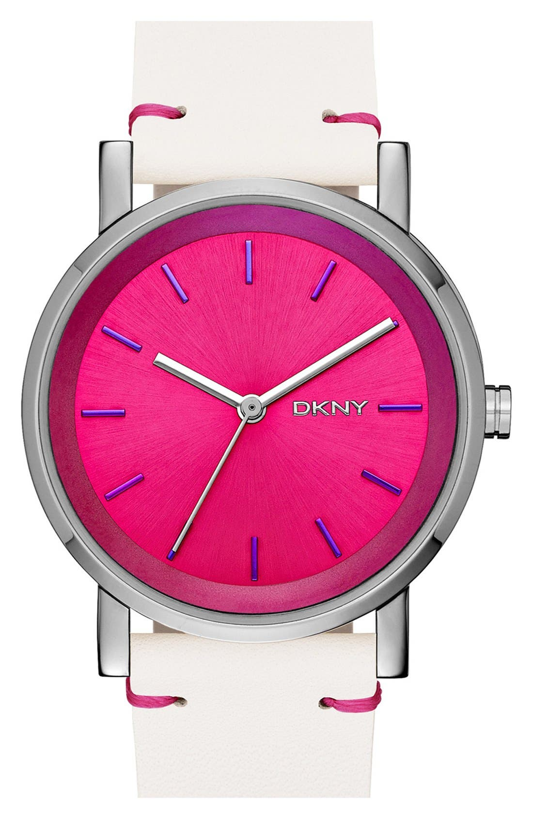 Main Image - DKNY 'Soho' Iridescent Accent Leather Strap Watch, 34mm