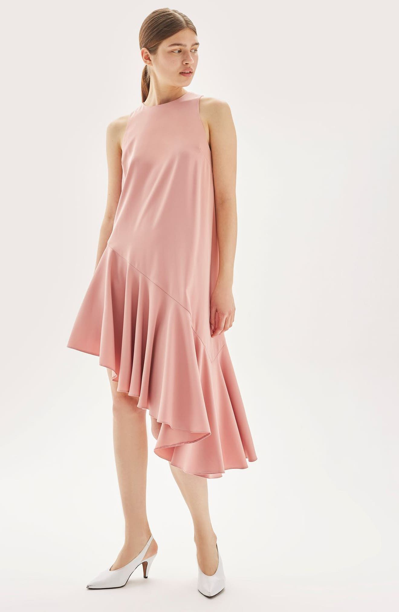 Alternate Image 2  - Topshop Ruffle Asymmetrical Midi Dress