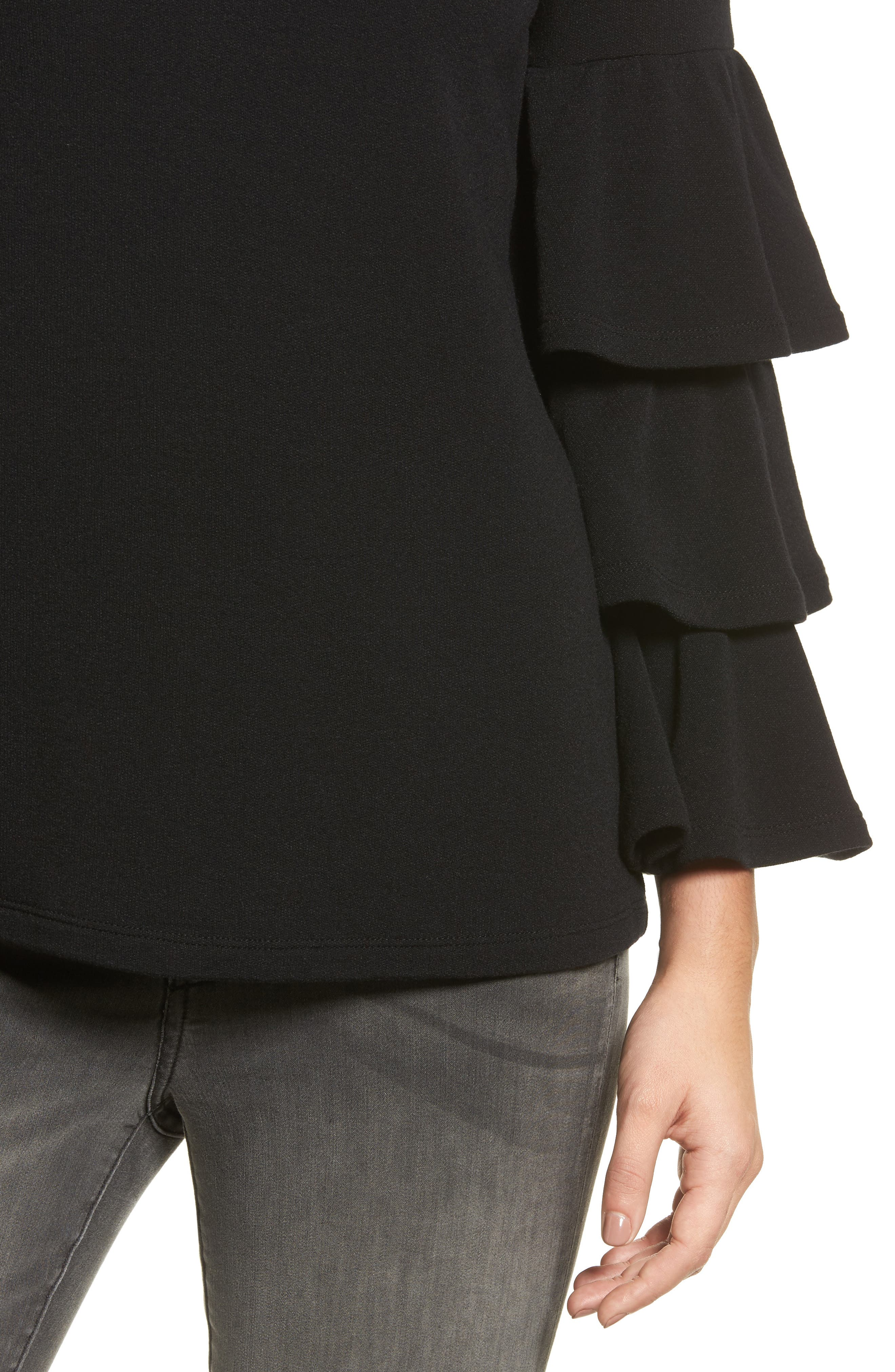 Alternate Image 4  - Pleione Tiered Bell Sleeve Knit Top (Regular & Petite)