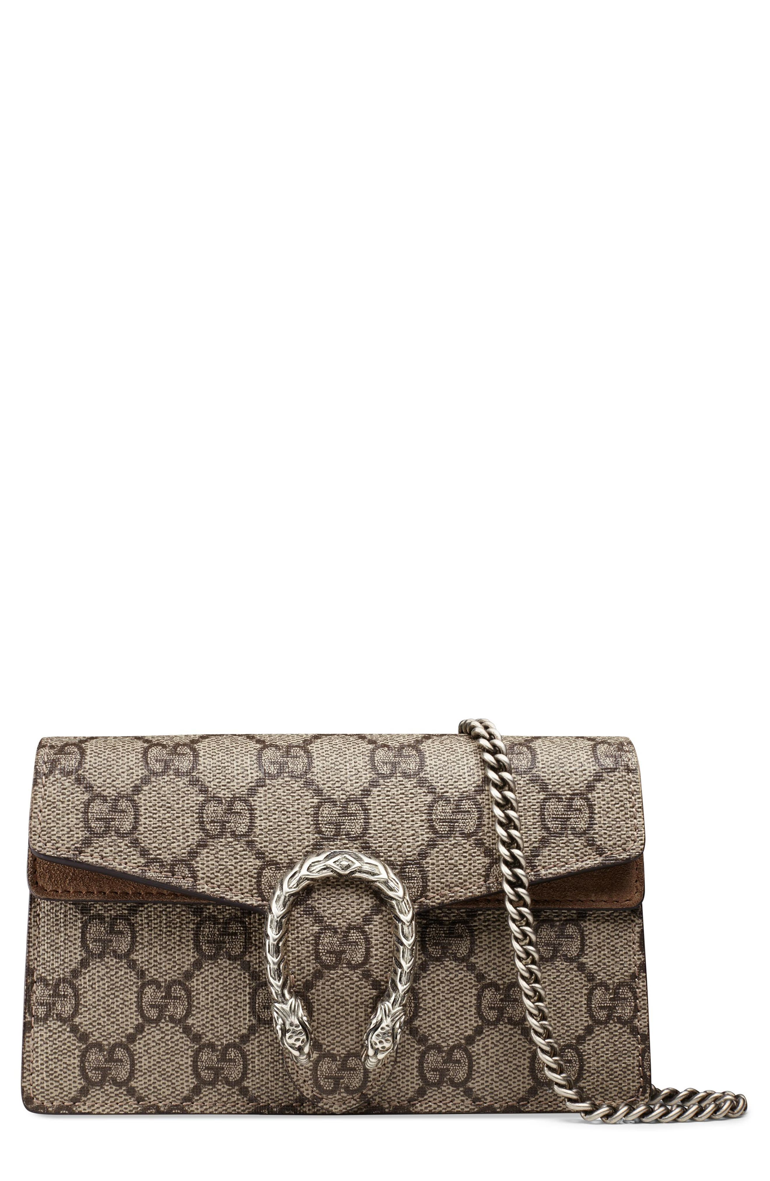 Main Image - Gucci Super Mini Dionysus GG Supreme Canvas & Suede Shoulder Bag