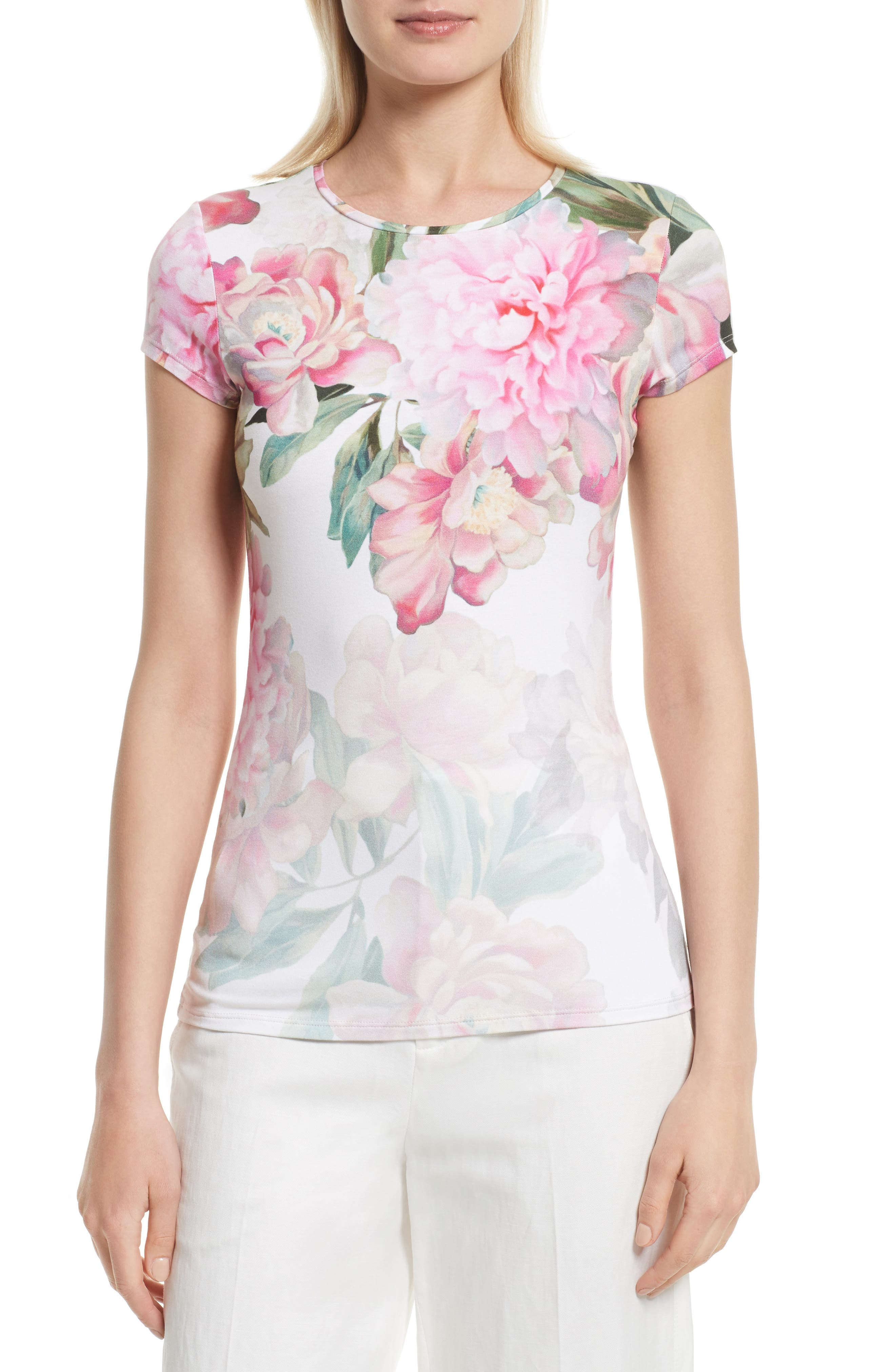Ted Baker London Maiini Painted Posie Fitted Tee