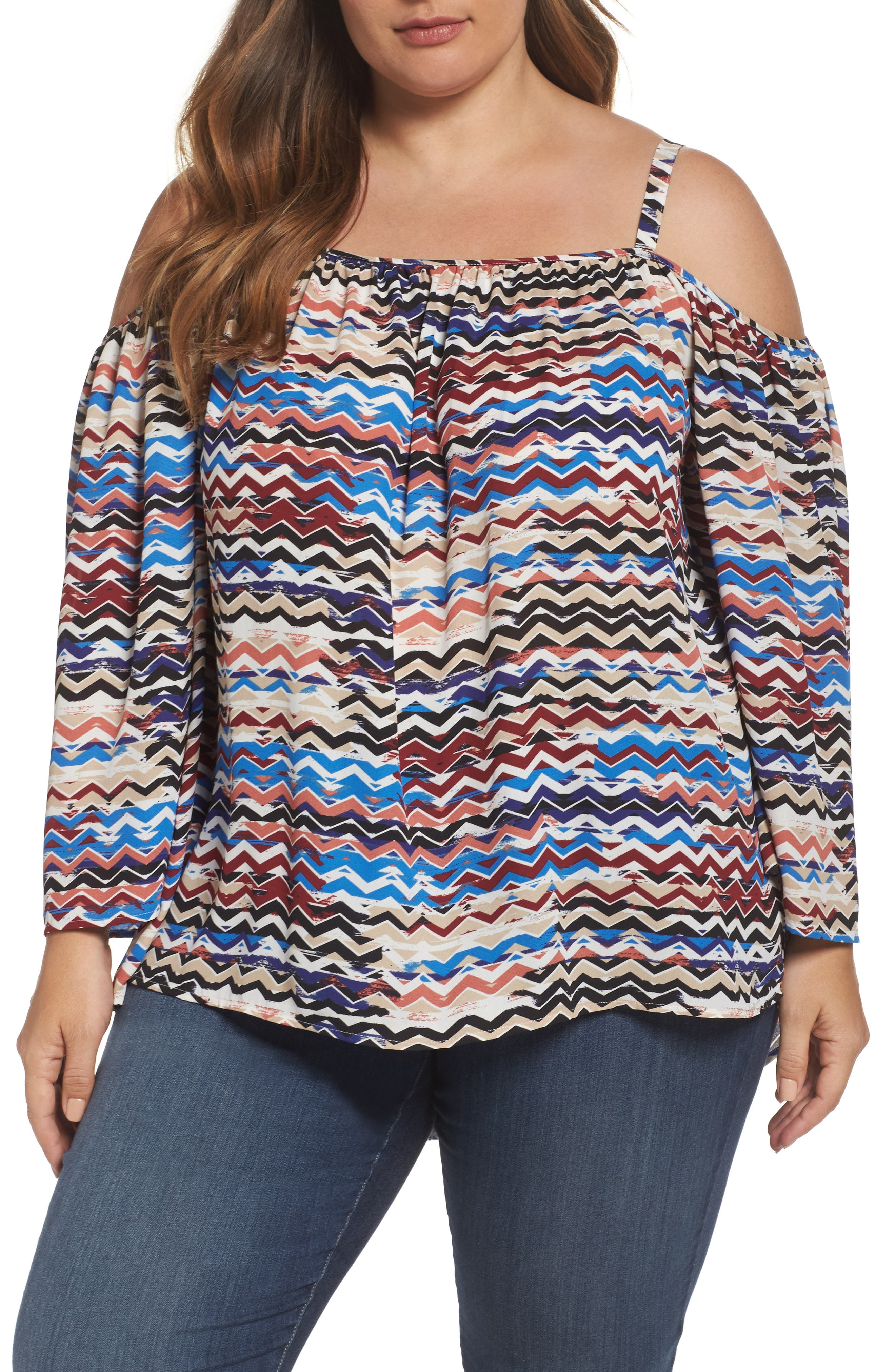 Vince Camuto Herringbone Muses Off the Shoulder Top (Plus Size)