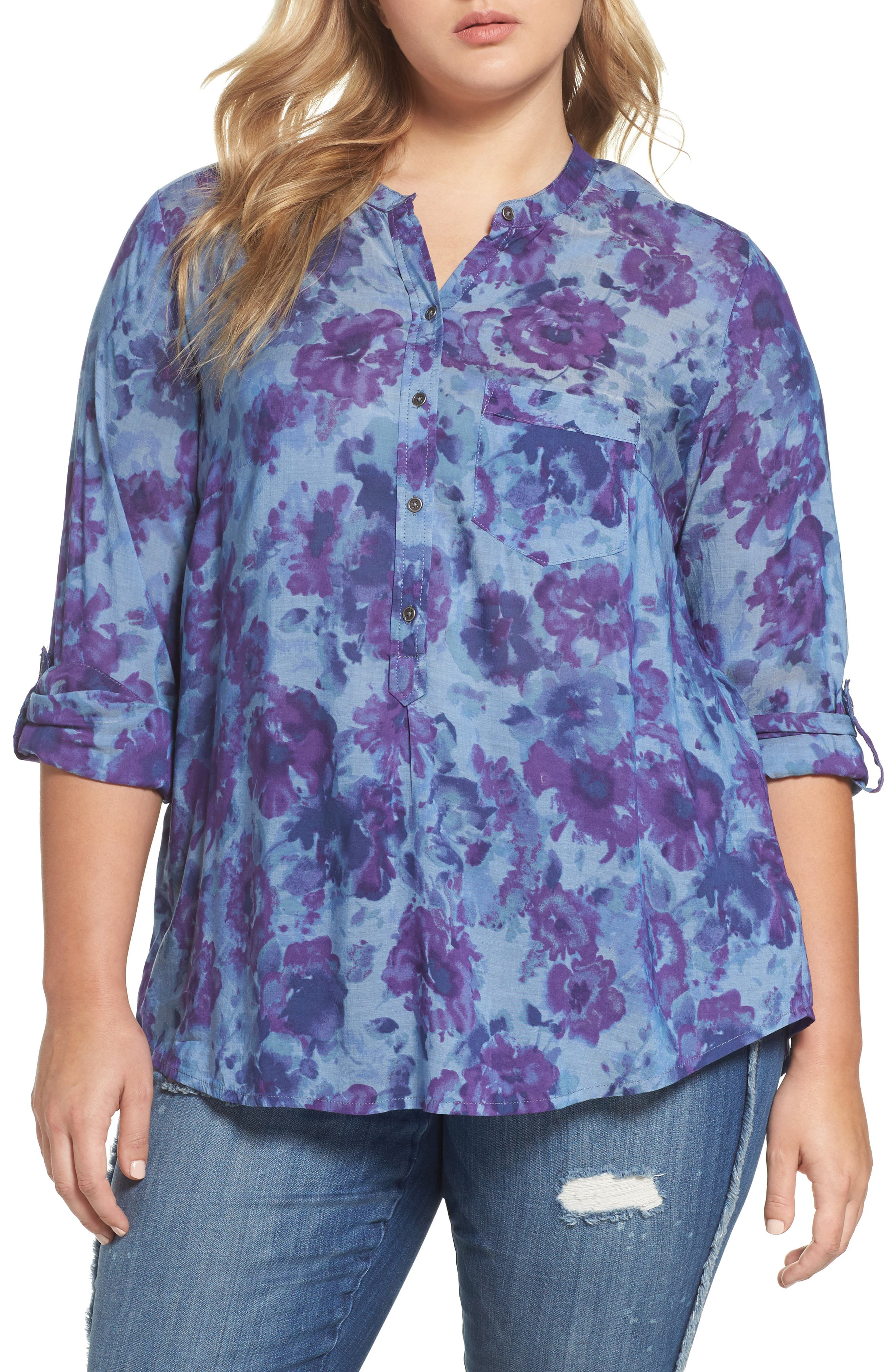 Lucky Brand Floral Print Chambray Top (Plus Size)