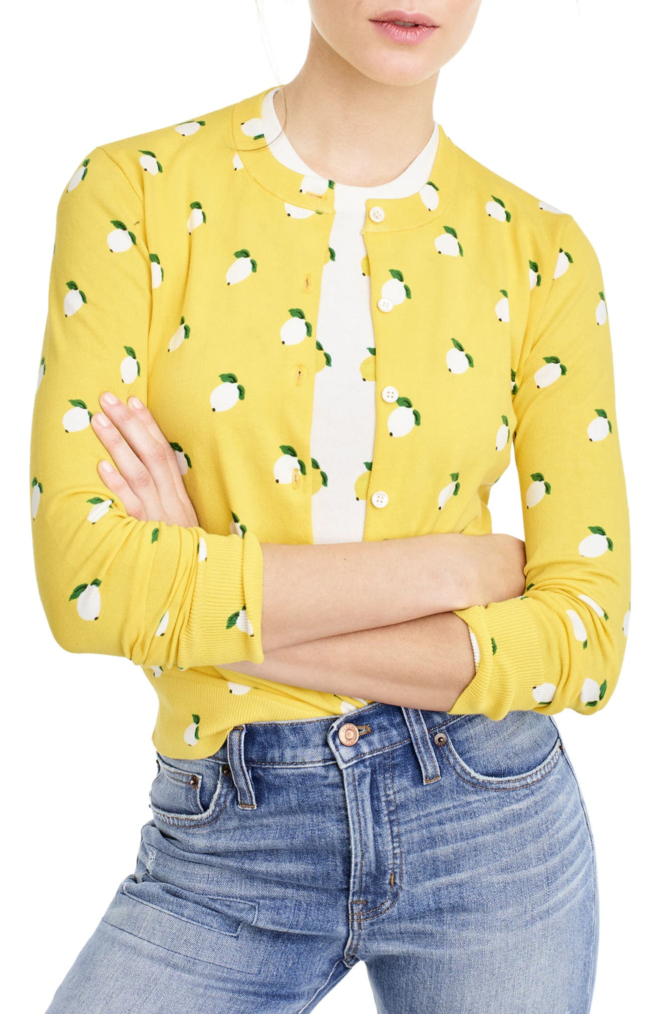 Alternate Image 1 Selected - J.Crew Jackie Lemon Print Cardigan