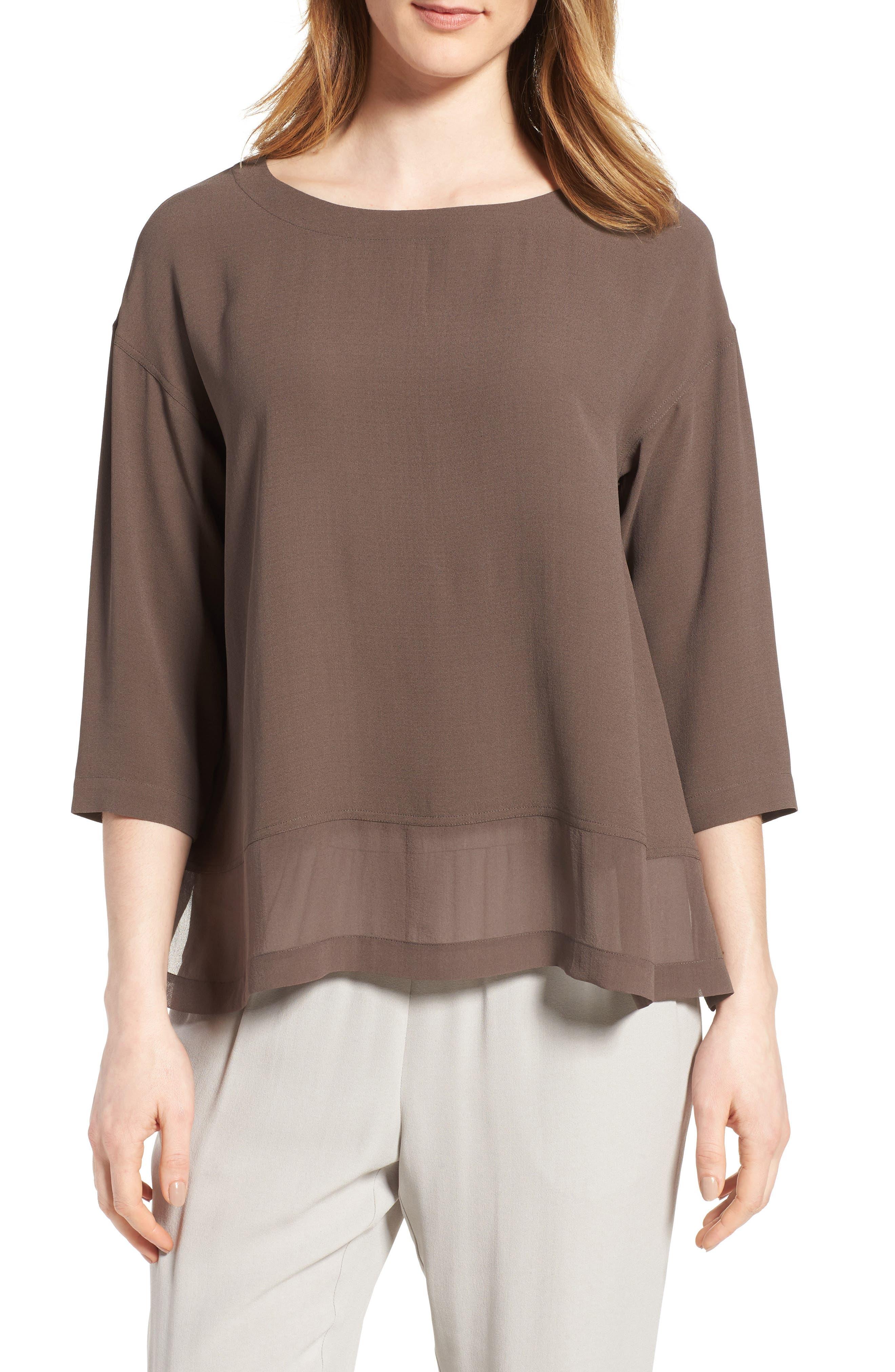Eileen Fisher Sheer Hem Silk Top (Regular & Petite)