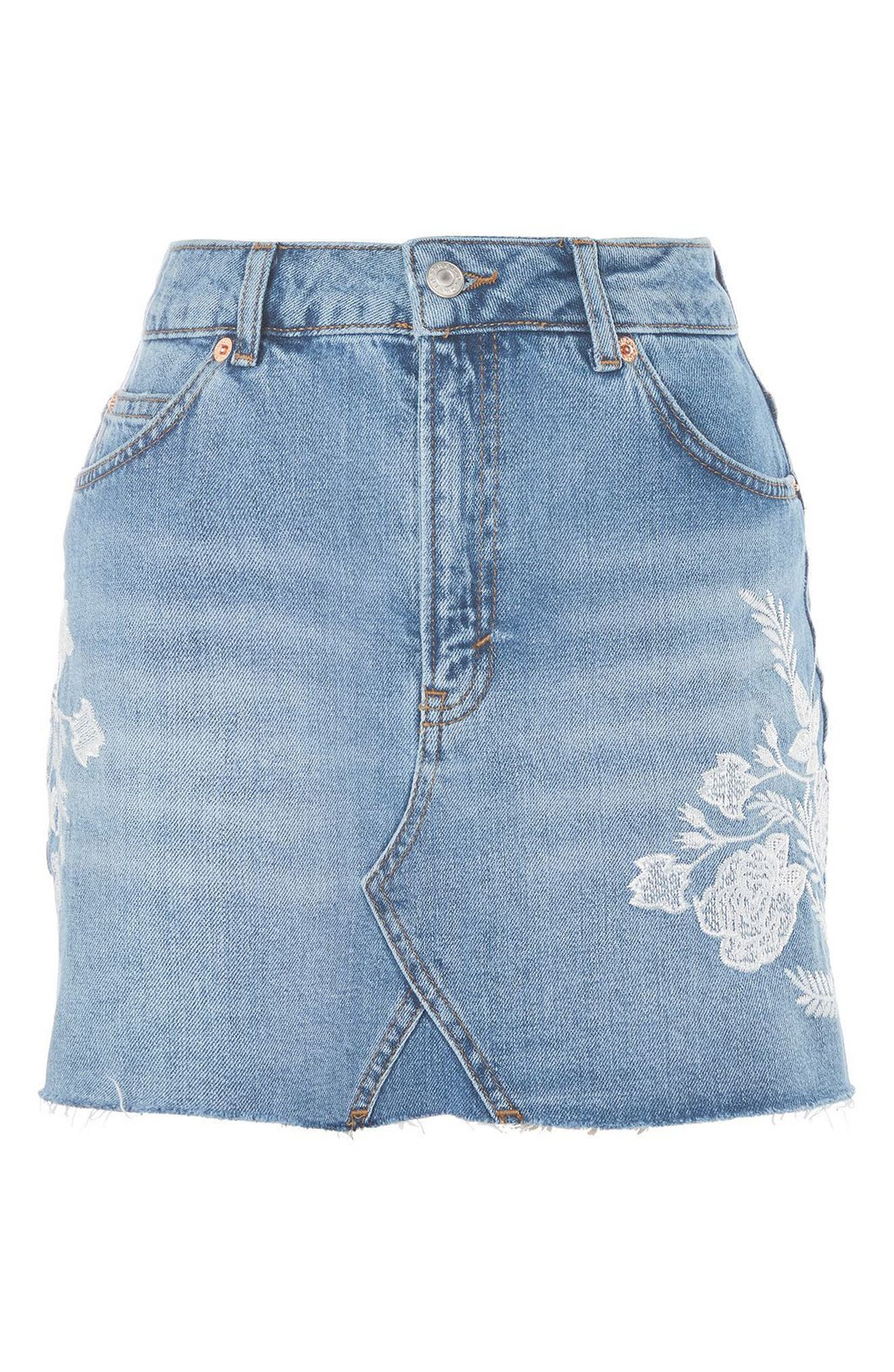 Alternate Image 4  - Topshop Embroidered Denim Miniskirt