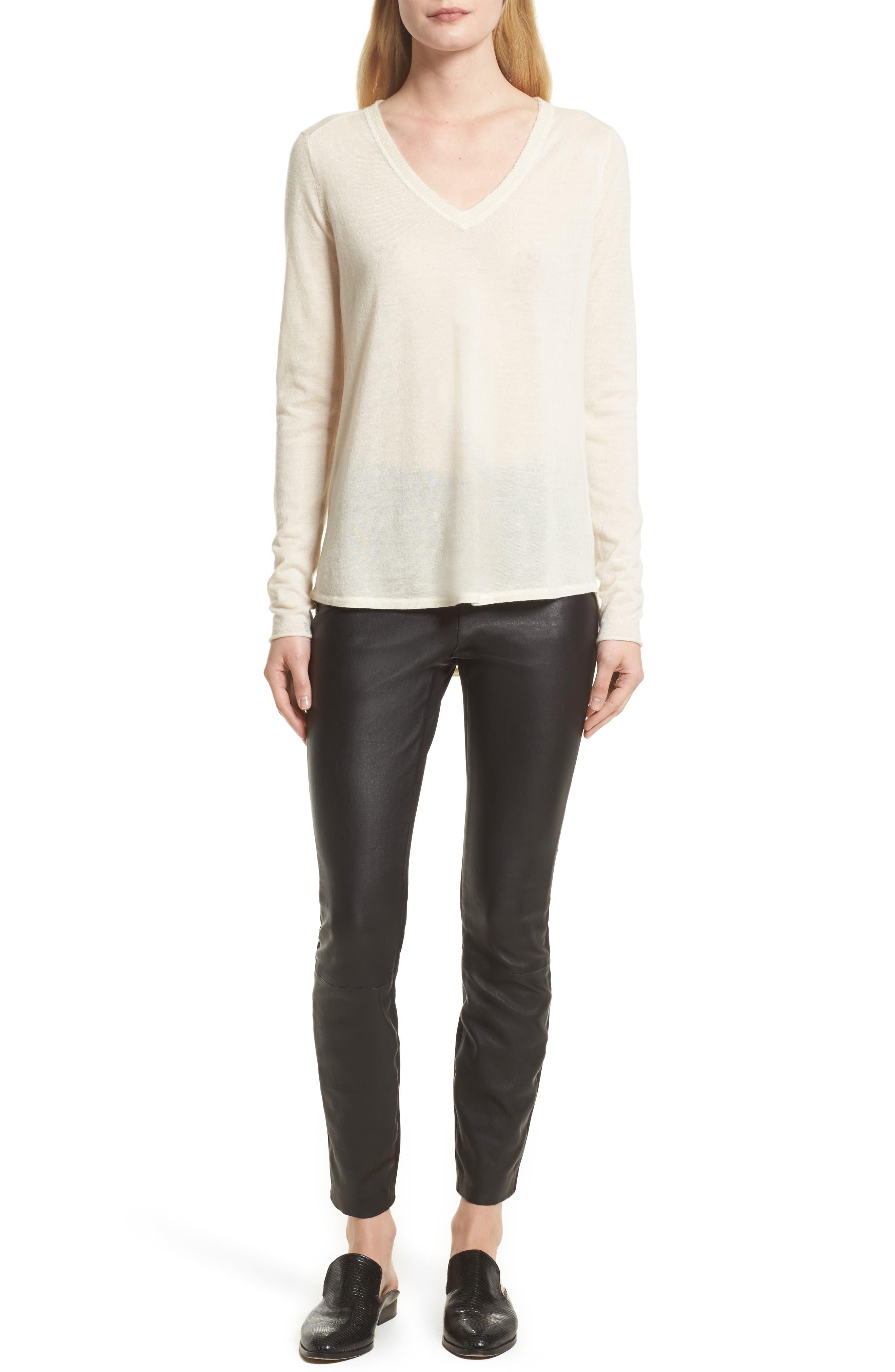 Alternate Image 9  - rag & bone Josephine Leather Front Skinny Pants